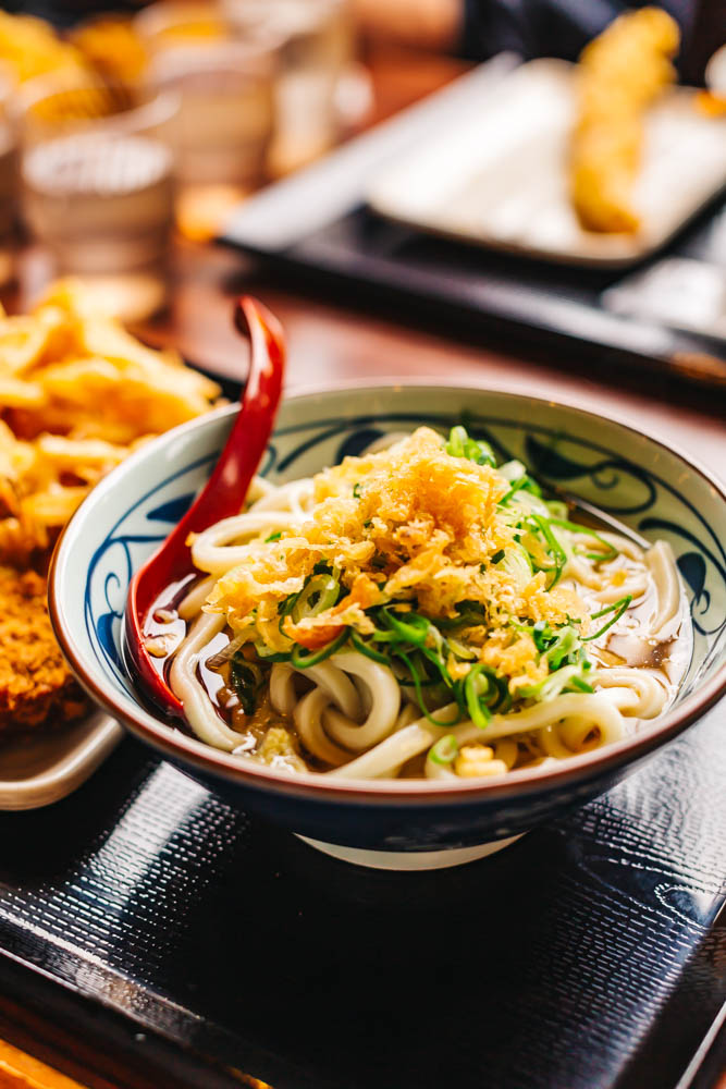 Hot Udon with plenty of green onions and Tempura crumbles