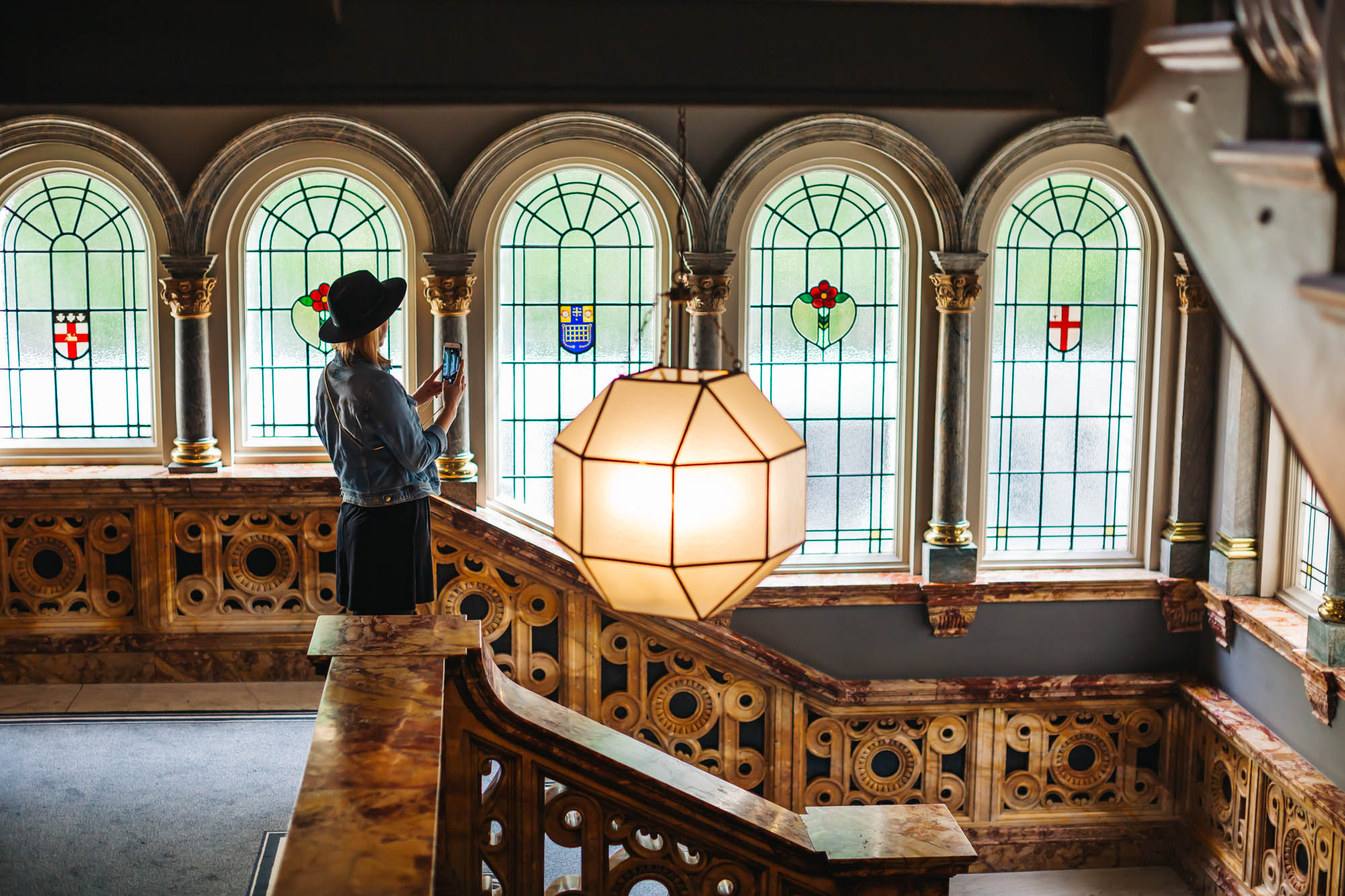 the hotel kept the Original Stained Glass Windows