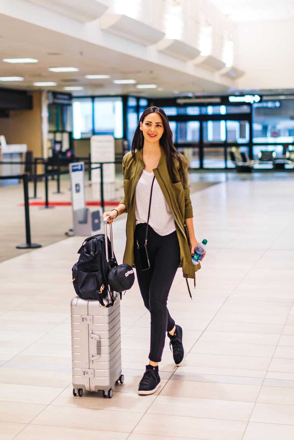 Away Bigger Carryon Suitcase    //    Anatomie Jacket & Fleece Leggings