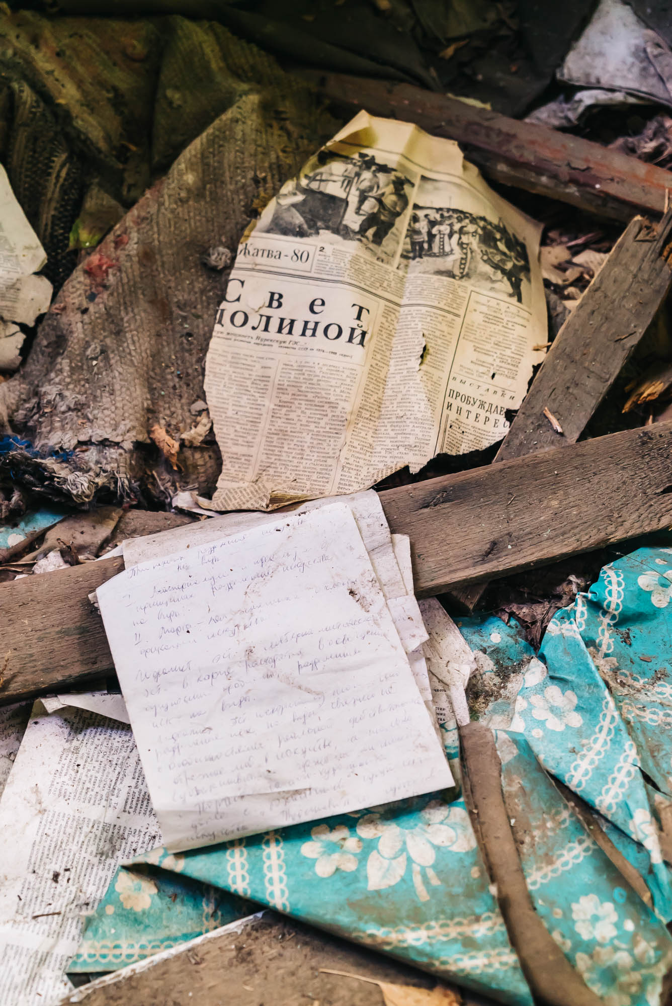 Old letters and newspaper articles in the abandoned home