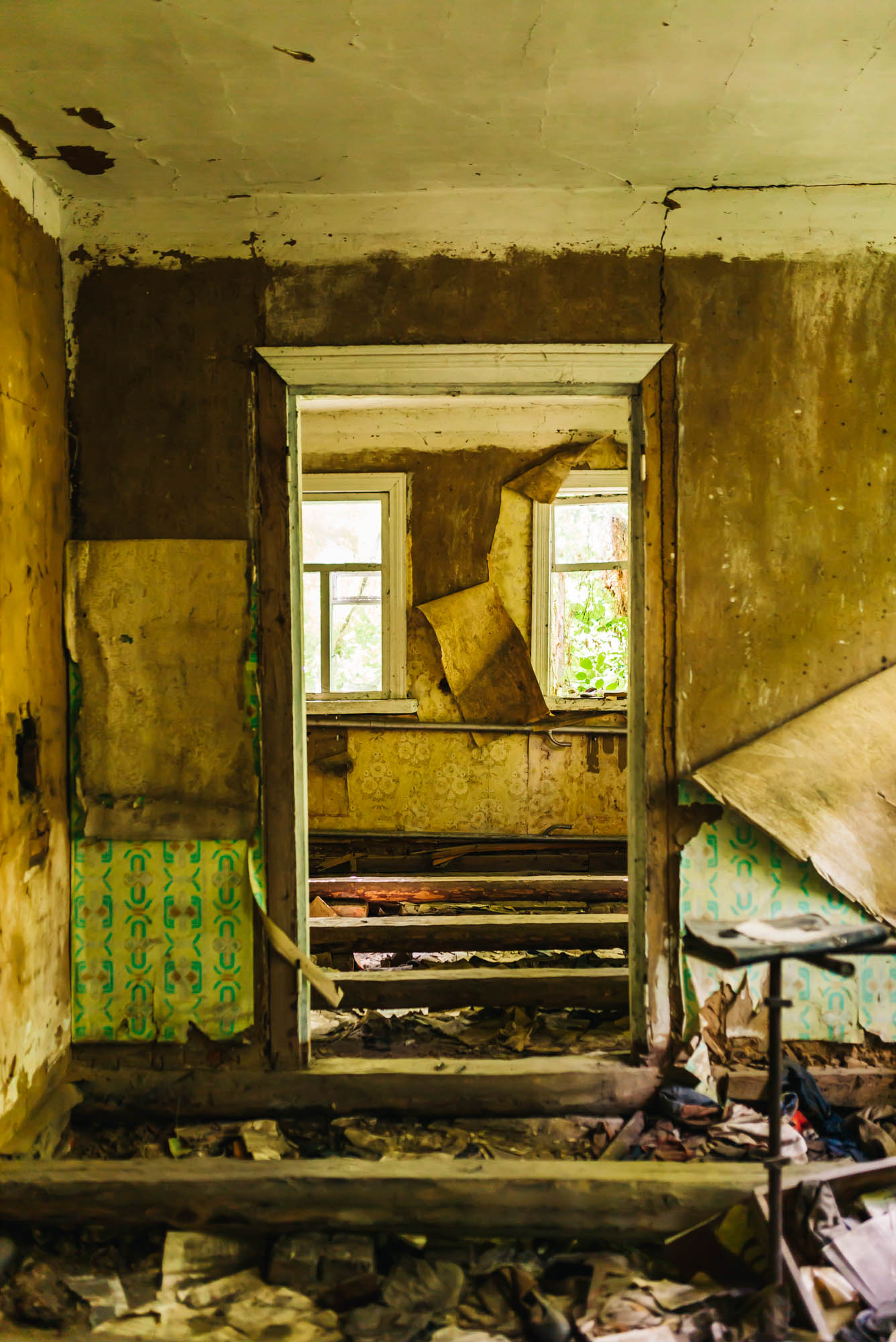 Inside of an abandoned home in Chernobyl
