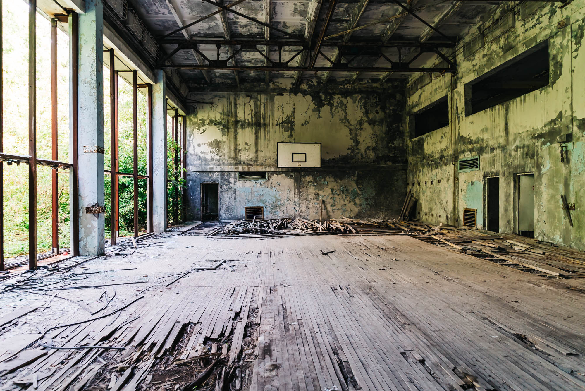 Basketball court on the second floor of the fitness center in Pripyat