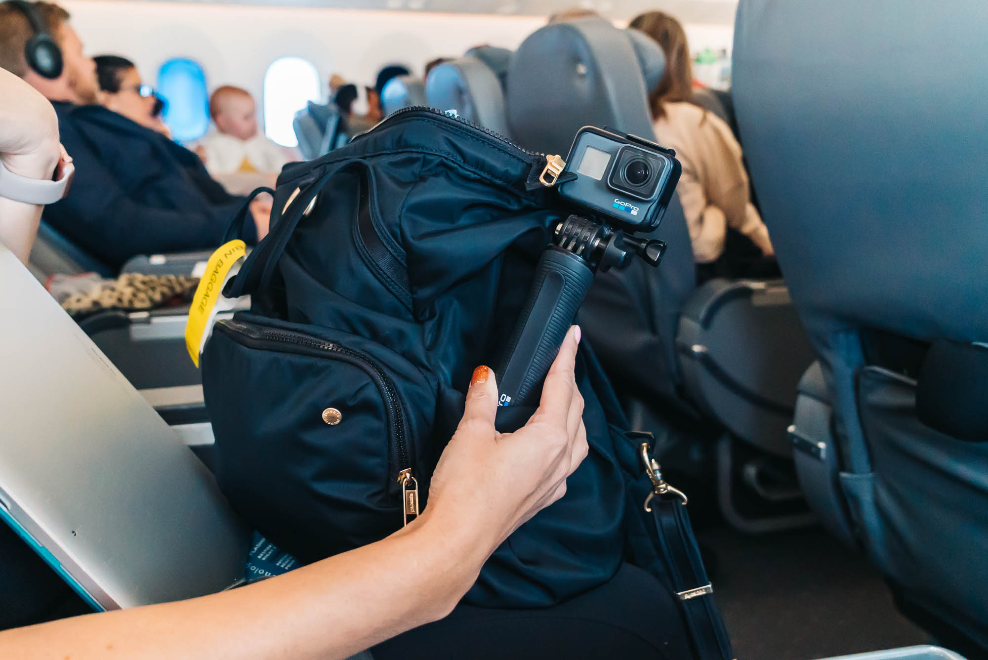 The  Gopro Hero 6  fits conveniently in the Pacsafe side pocket