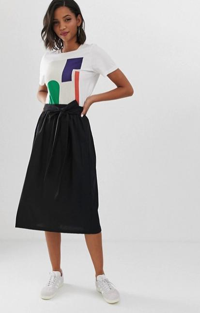 ASOS DESIGN linen full midi skirt