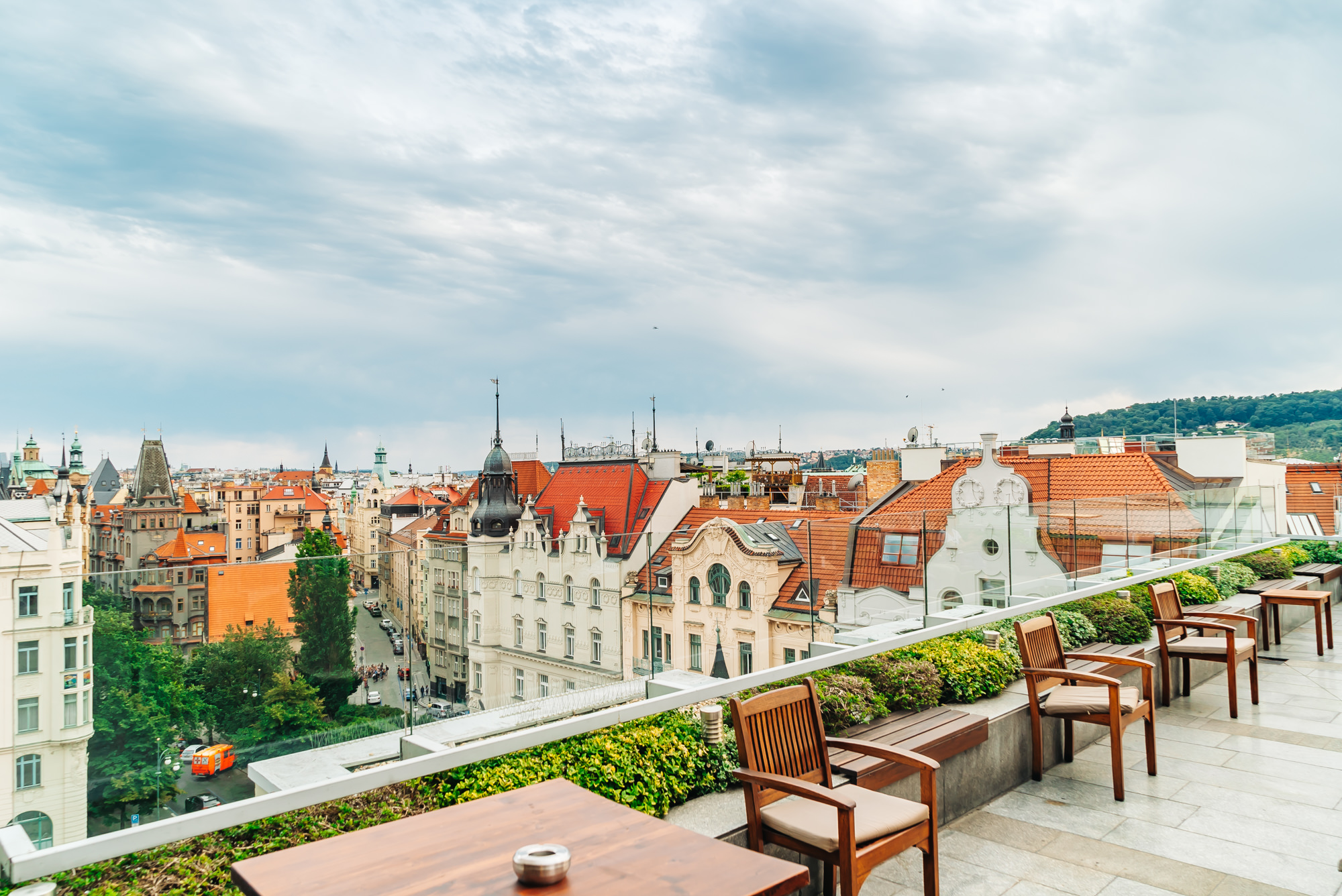 View of Prague from the rooftop at Zlata Praha Restaurant