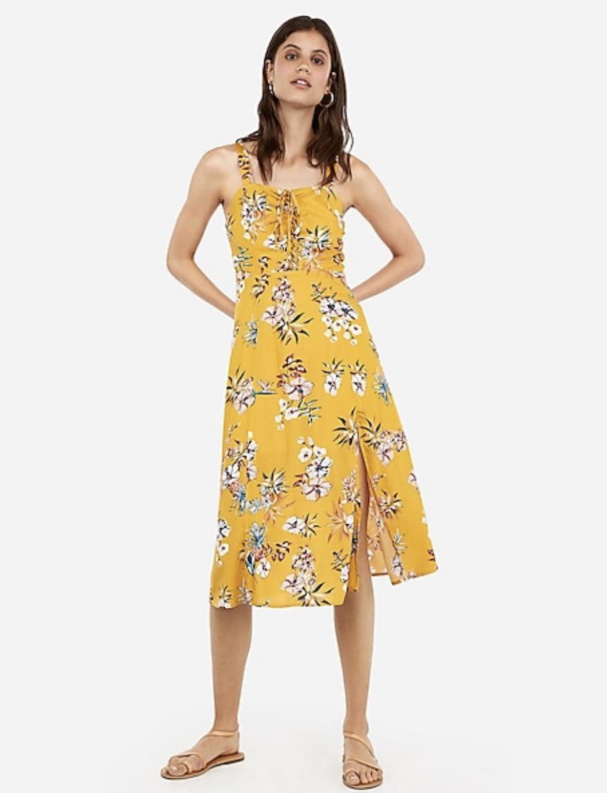 Express Floral Print Lace-Up Midi Dress