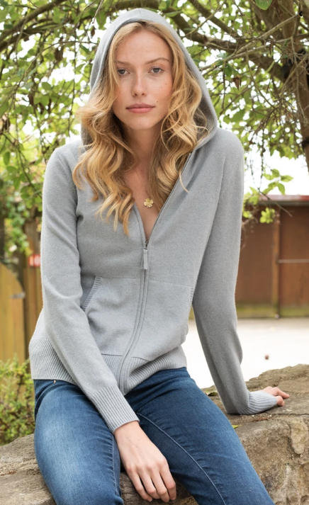 Margaret O'Leary Cashmere Zip-Up Hoodie