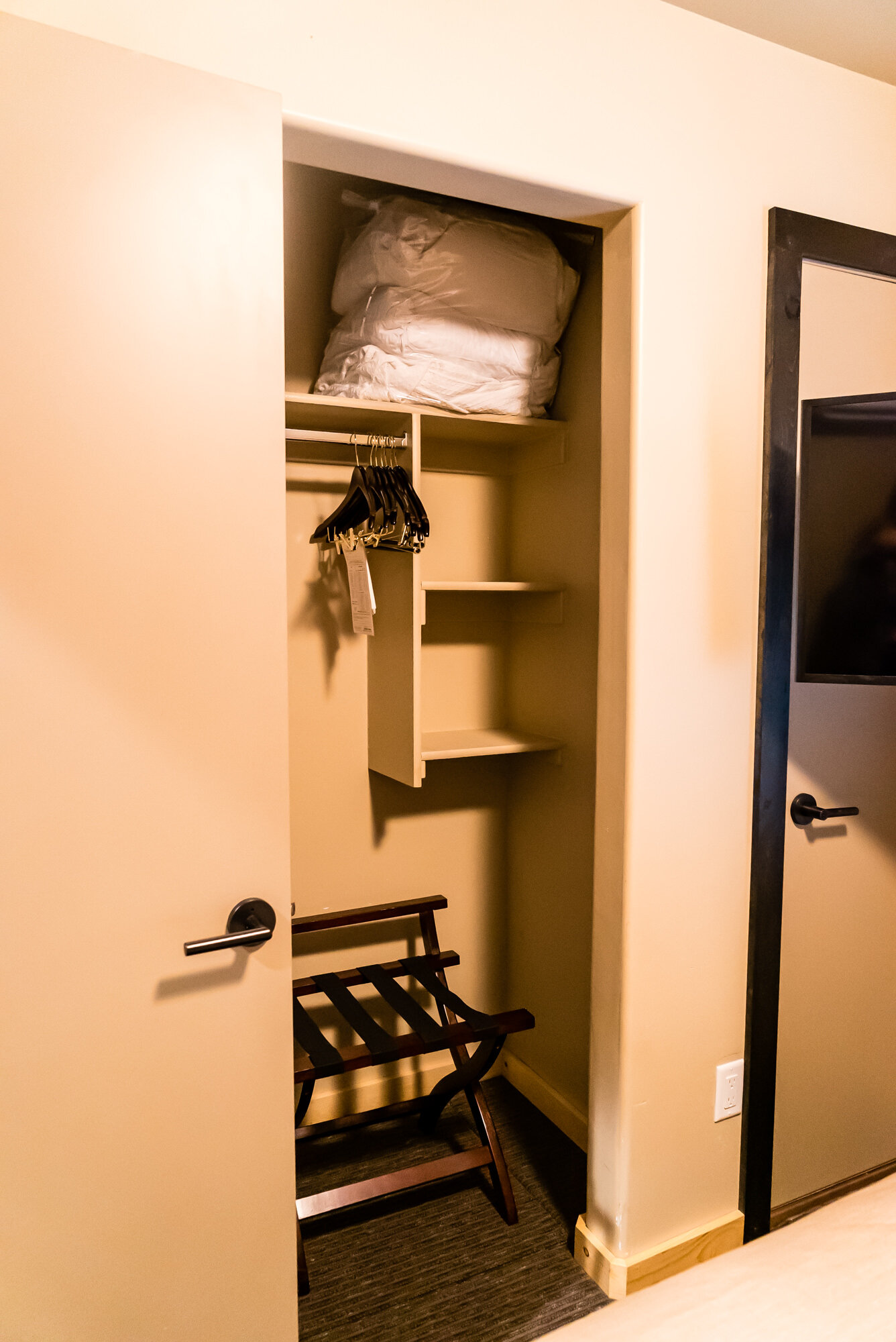 Spacious closet with extra blankets