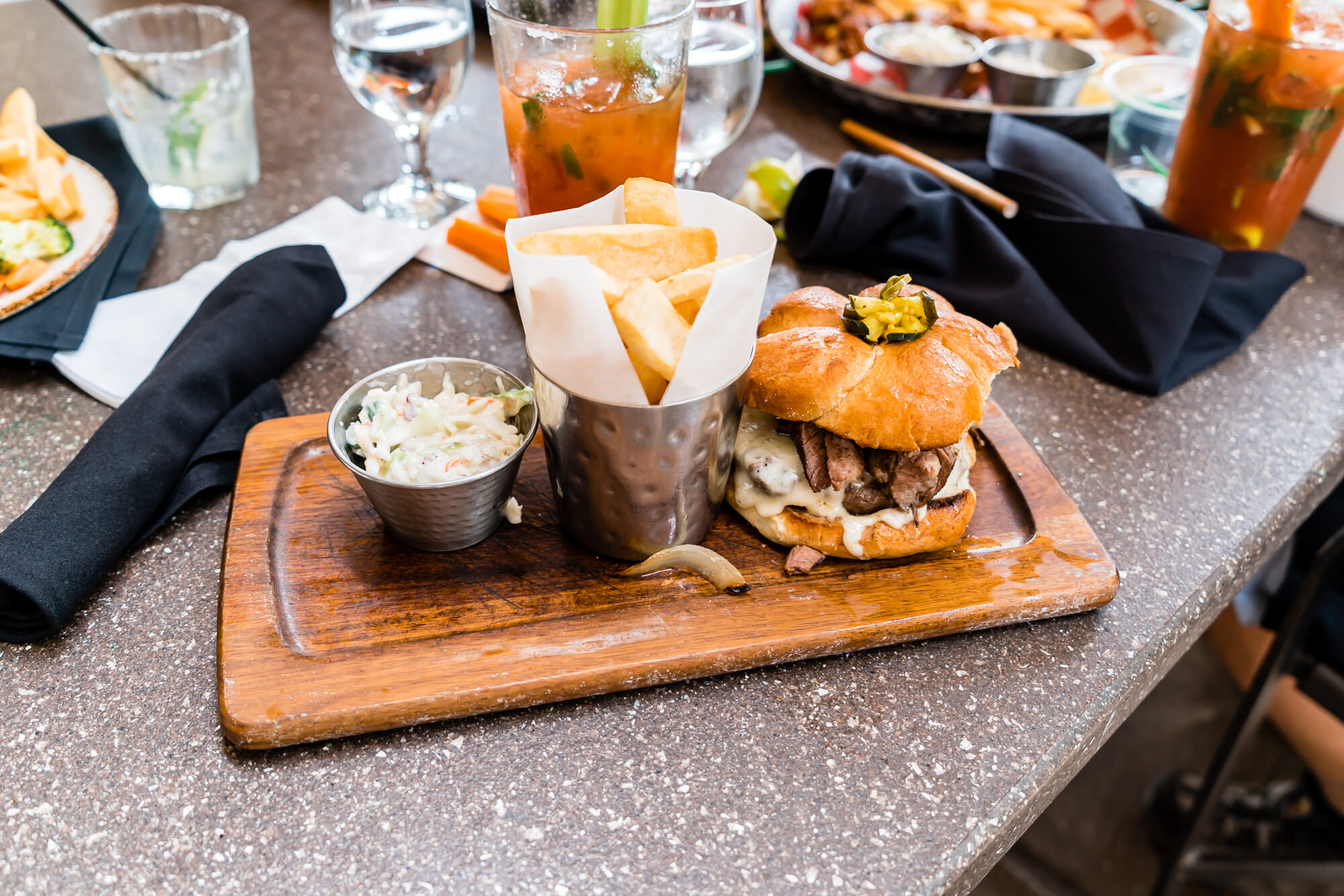 The Steakhouse - Grileld Burger with Swiss Cheese, Short Rib, Gilled Onions, Garlic Aioli