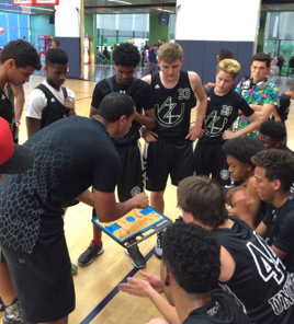 Former ASU standout, coach Jerren Shipp, draws up a play for the 16U Elite team. (4/1/2016)