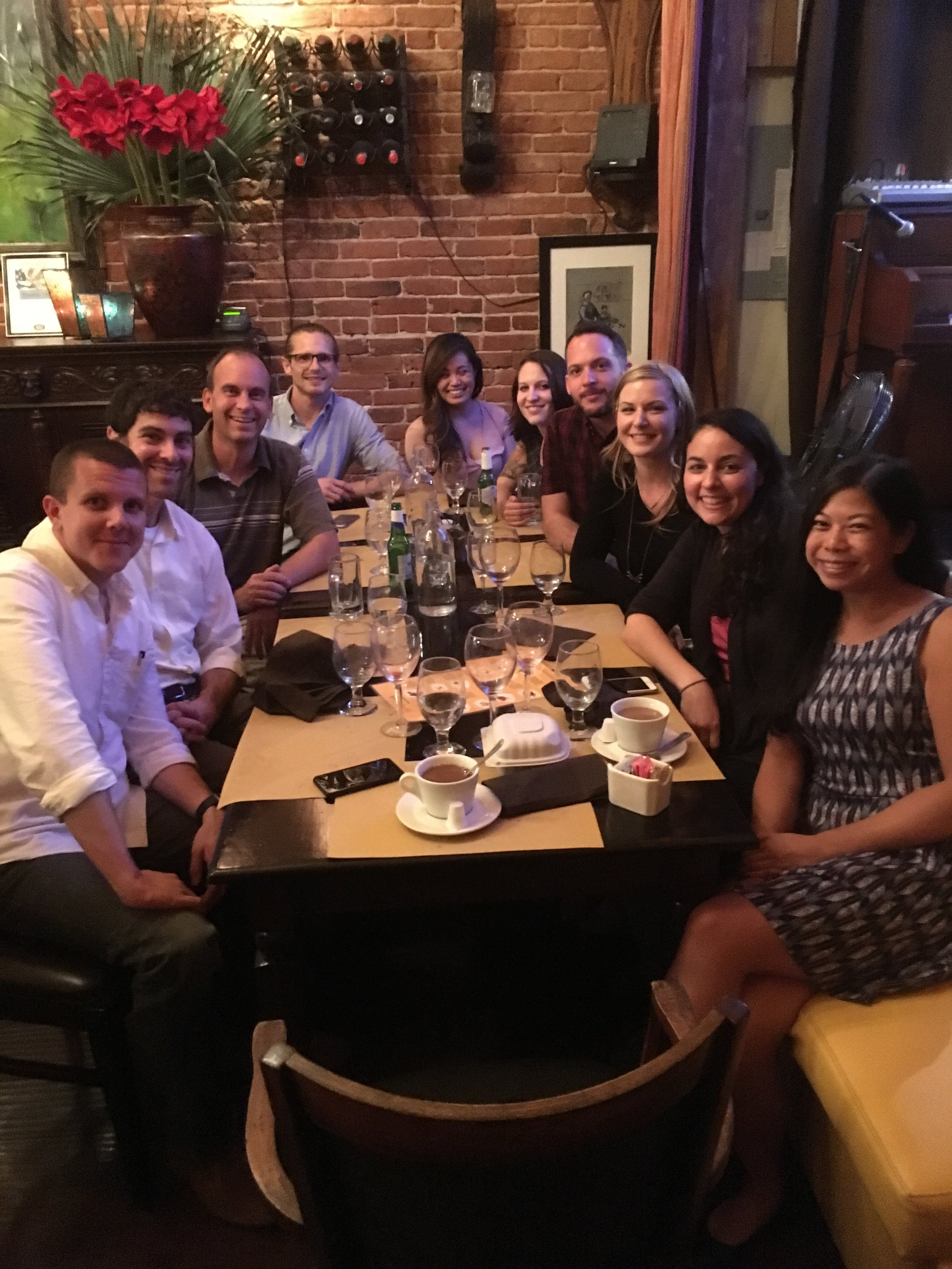 Kinney Lab Family Dinner with current and former lab members. Left to right: Michael Langhardt, Jon Sabbagh, Dr. Kinney, Austin Boren, Krystal Belmonte, Stephanie Nagl, Andrew Murtishaw, Monica Bolton, Chelcie Heaney, Christy Magcalas