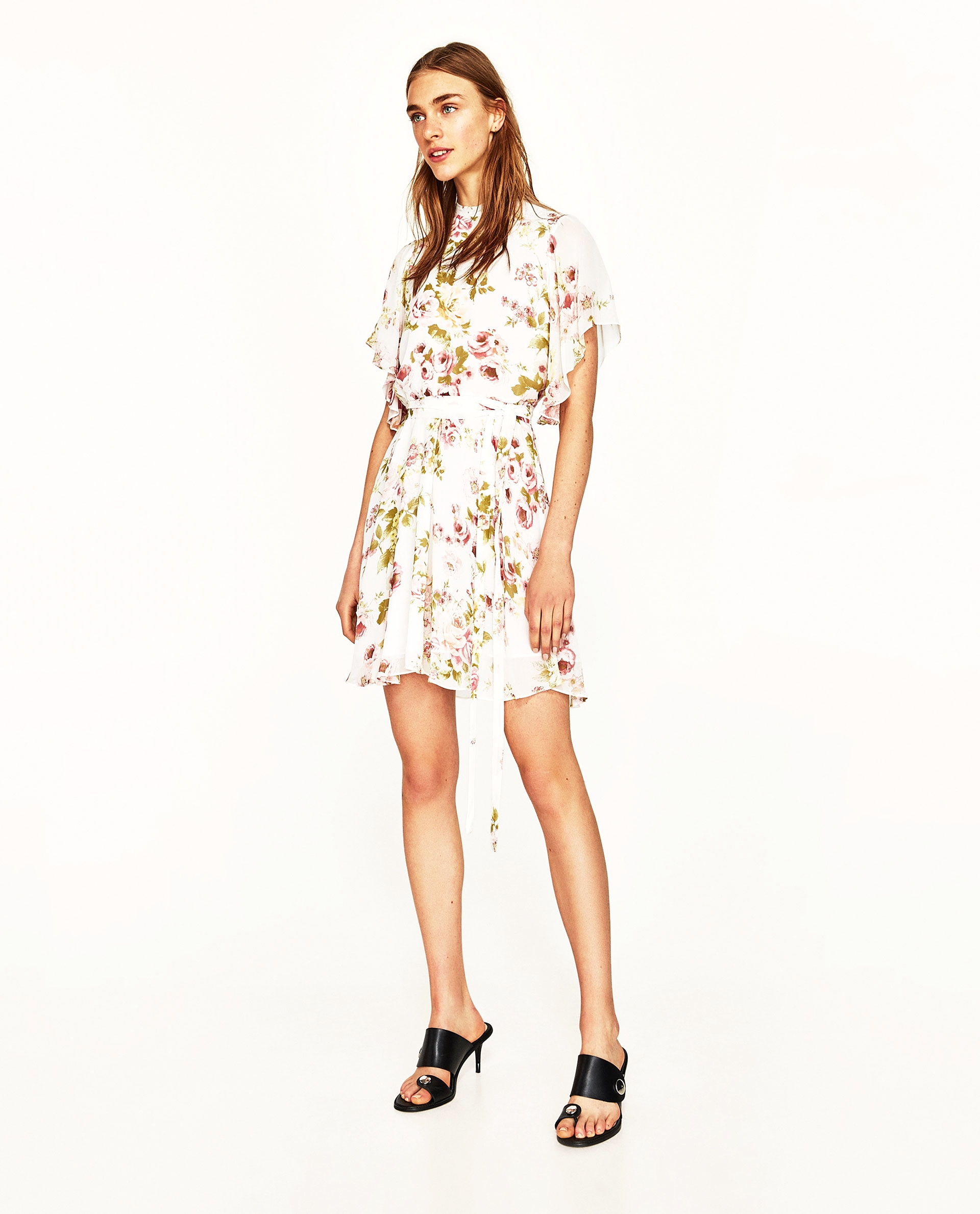 Zara Printed Mini Dress with Belt