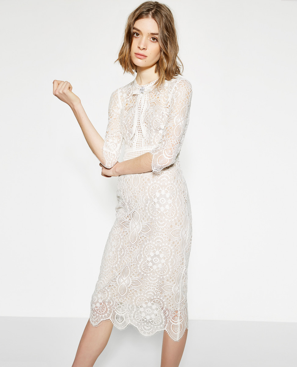 THE KOOPLES ECRU EMBROIDERED MIDI DRESS