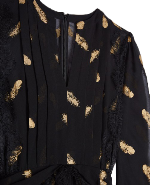 THE KOOPLES LONG FEATHER PRINT DRESS