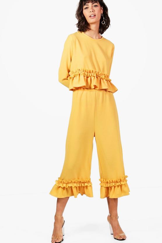 Boohoo Darcey Ruffle Hem Woven Trouser