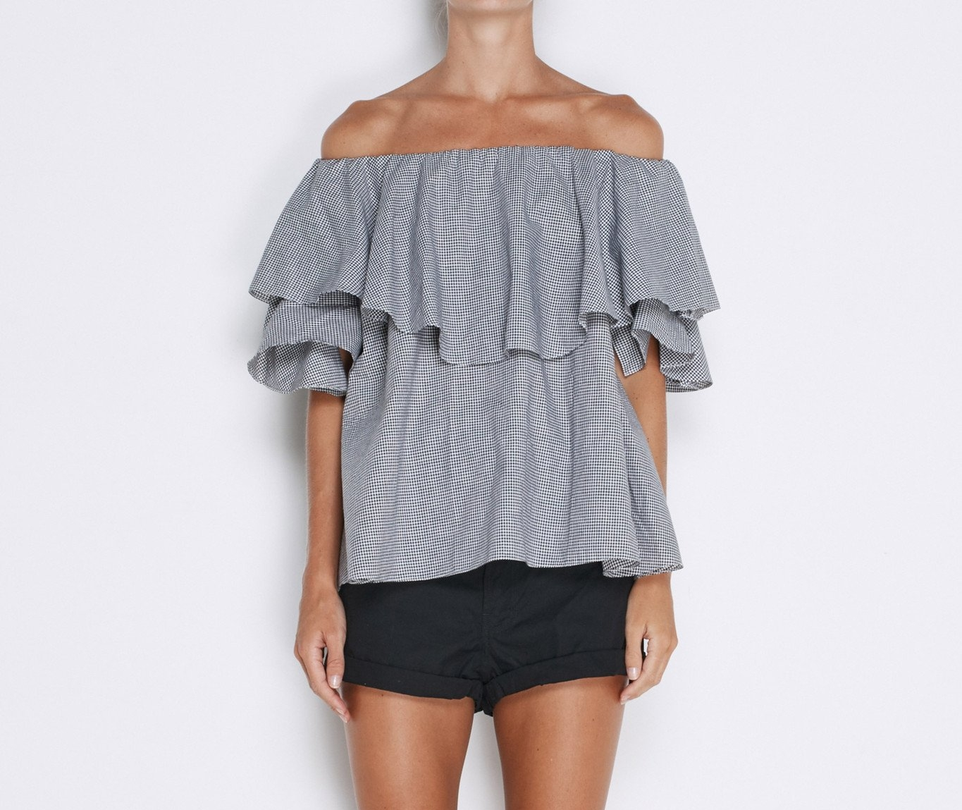 MLM LABEL |  MAISON TOP IN BLACK & WHITE GINGHAM