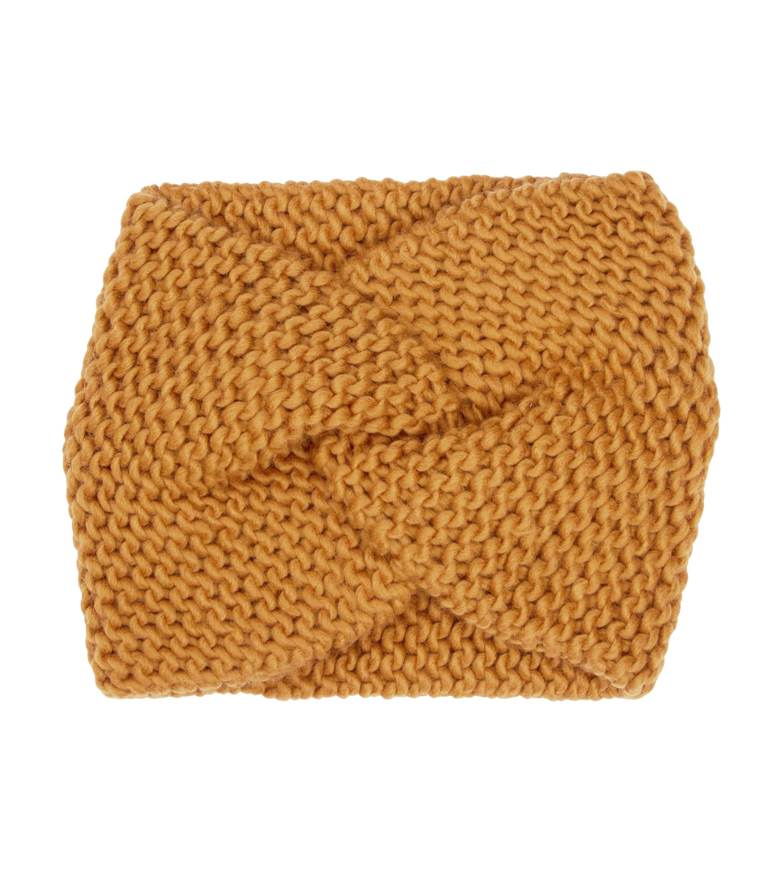 New Look Mustard Knit Twist Front Headband