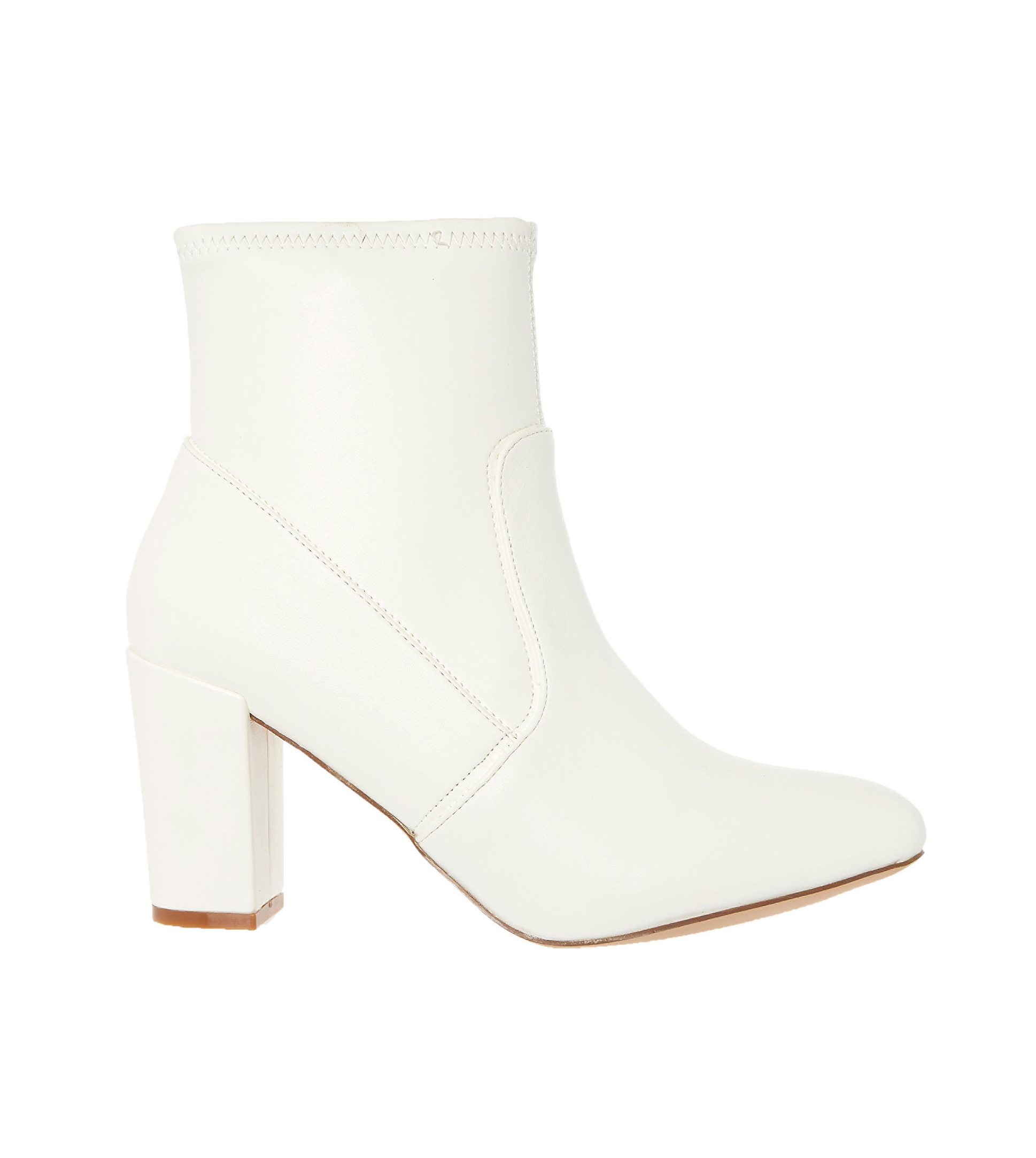 Steve Madden White Stretch Booties