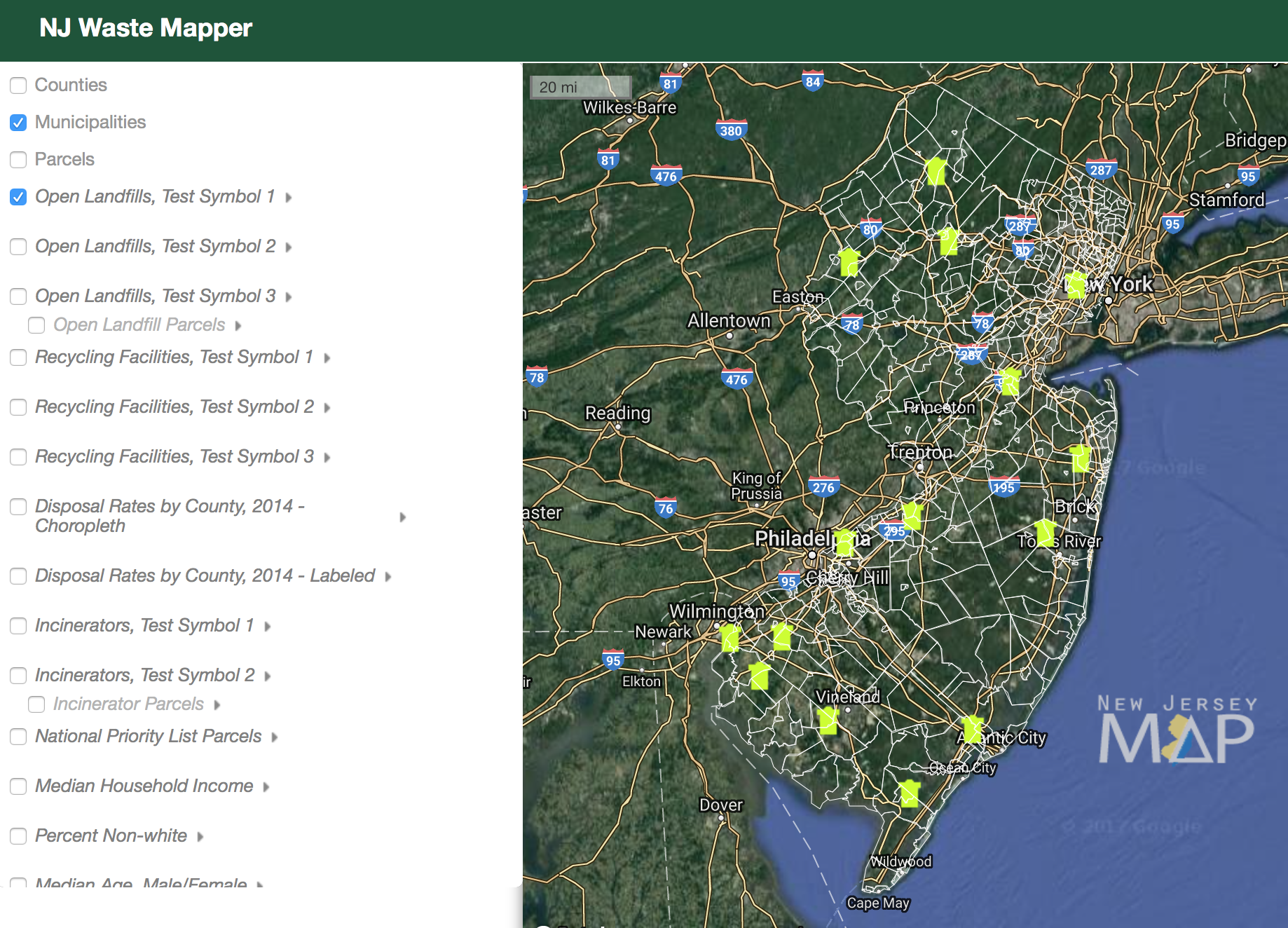 NJ Waste Mapper Theme screenshot, 2017