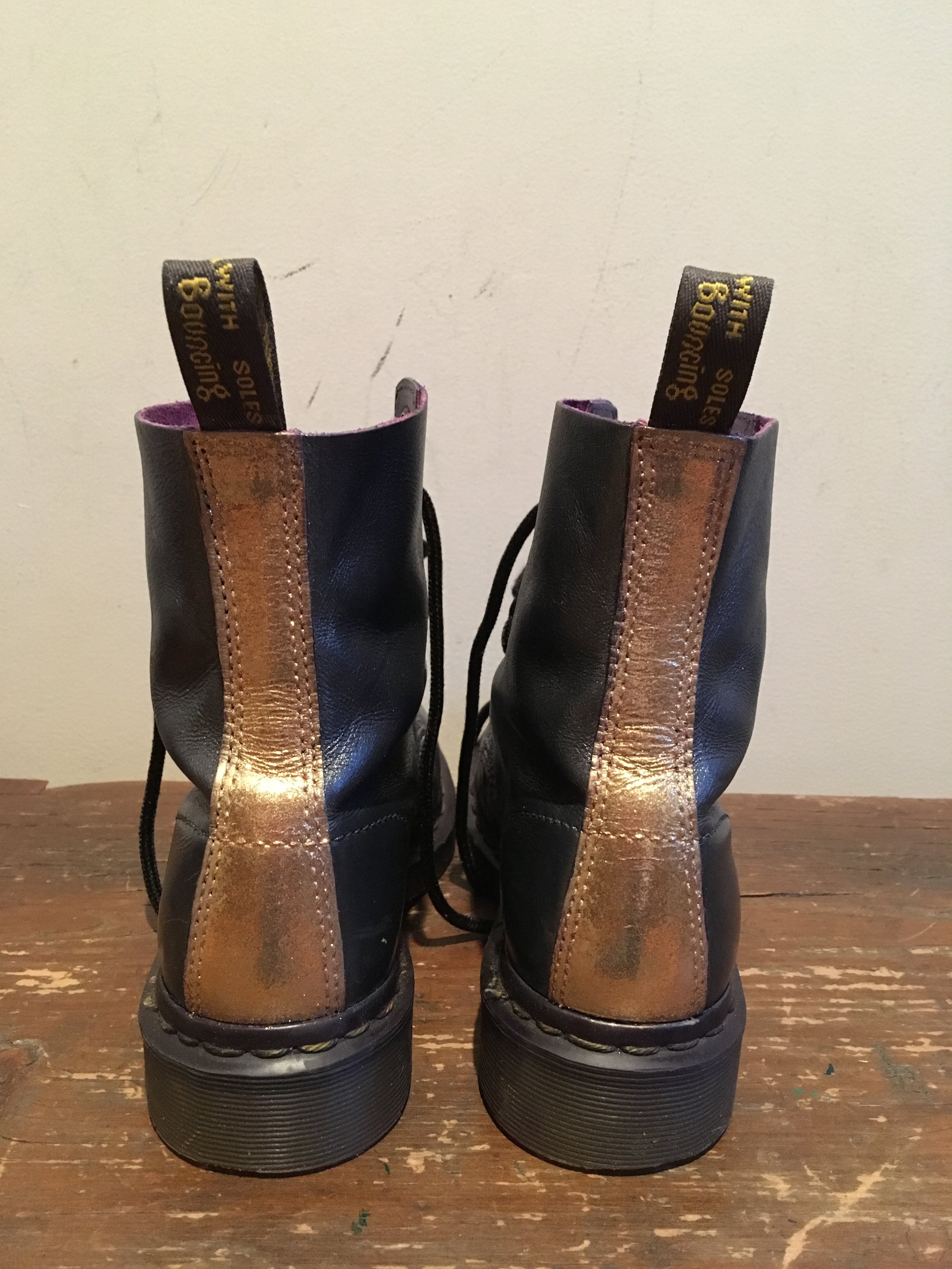 Dr. Martens refinished with a dark pewter grey and a sparkling gold heel..
