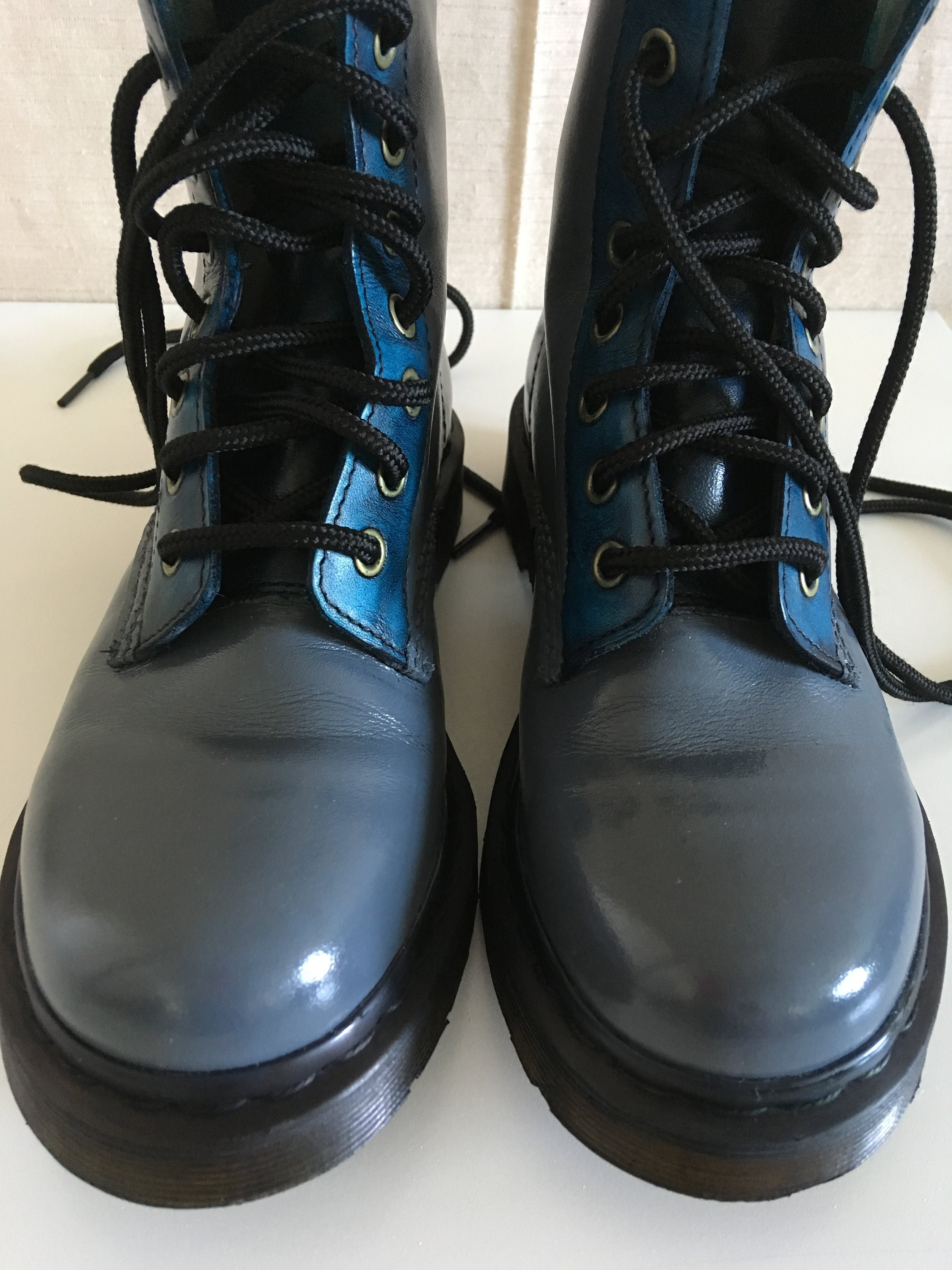 Dr. Martens refinished with a Slate blue/gray , and a sparkle of two toned aqua on the heel.