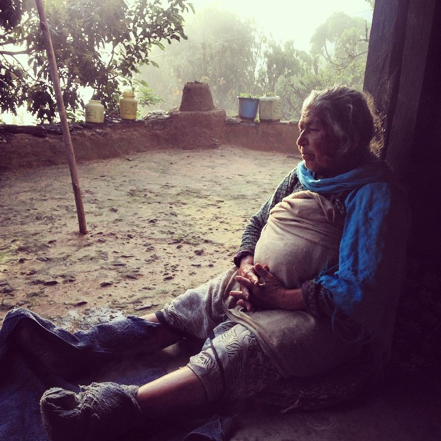 Amma, my Nepali grandma, soaking up some hydrotherapy on her sprained ankle. She still works the fields all day. #likeaboss #cantstopwontstop #karmidanda #naturecure #watercure #hydrotherapy #globalnaturopath