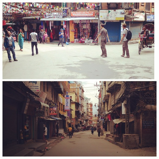 Bus and taxi strike across Nepal. The streets are eerily quiet. #nopollution #icanbreathe #icantleave #kathmanducity