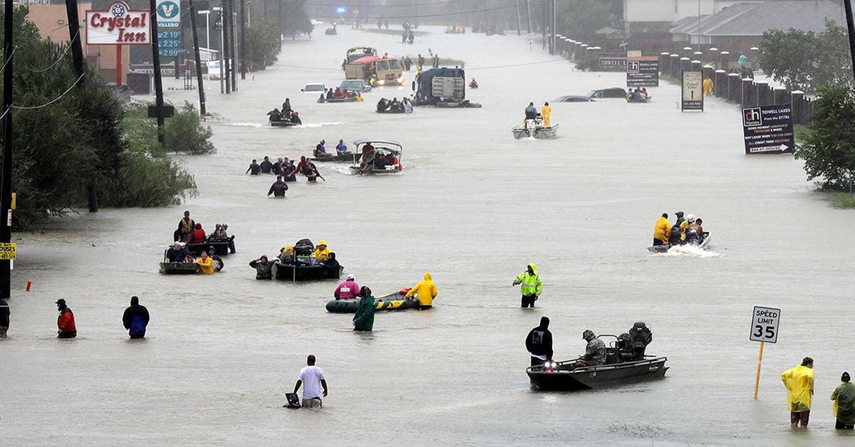 Private citizens, members of the  Texas Navy,  traveled to Houston to help residents affected by Hurricane Harvey.