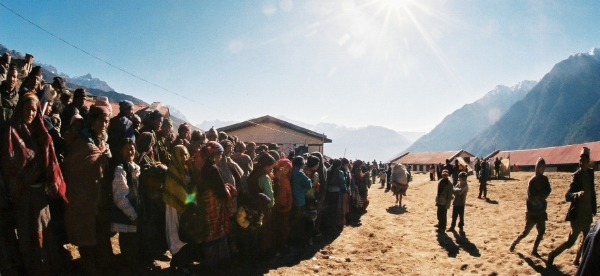 A shot of how long the lines can get at health camps, this one in Western Nepal.