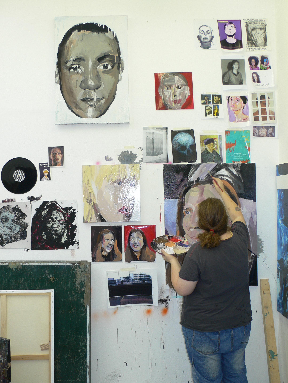 Julie Bennett working on a portrait