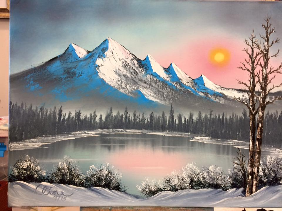 Sun Setting over Winter Mountains Cline 2015.jpg