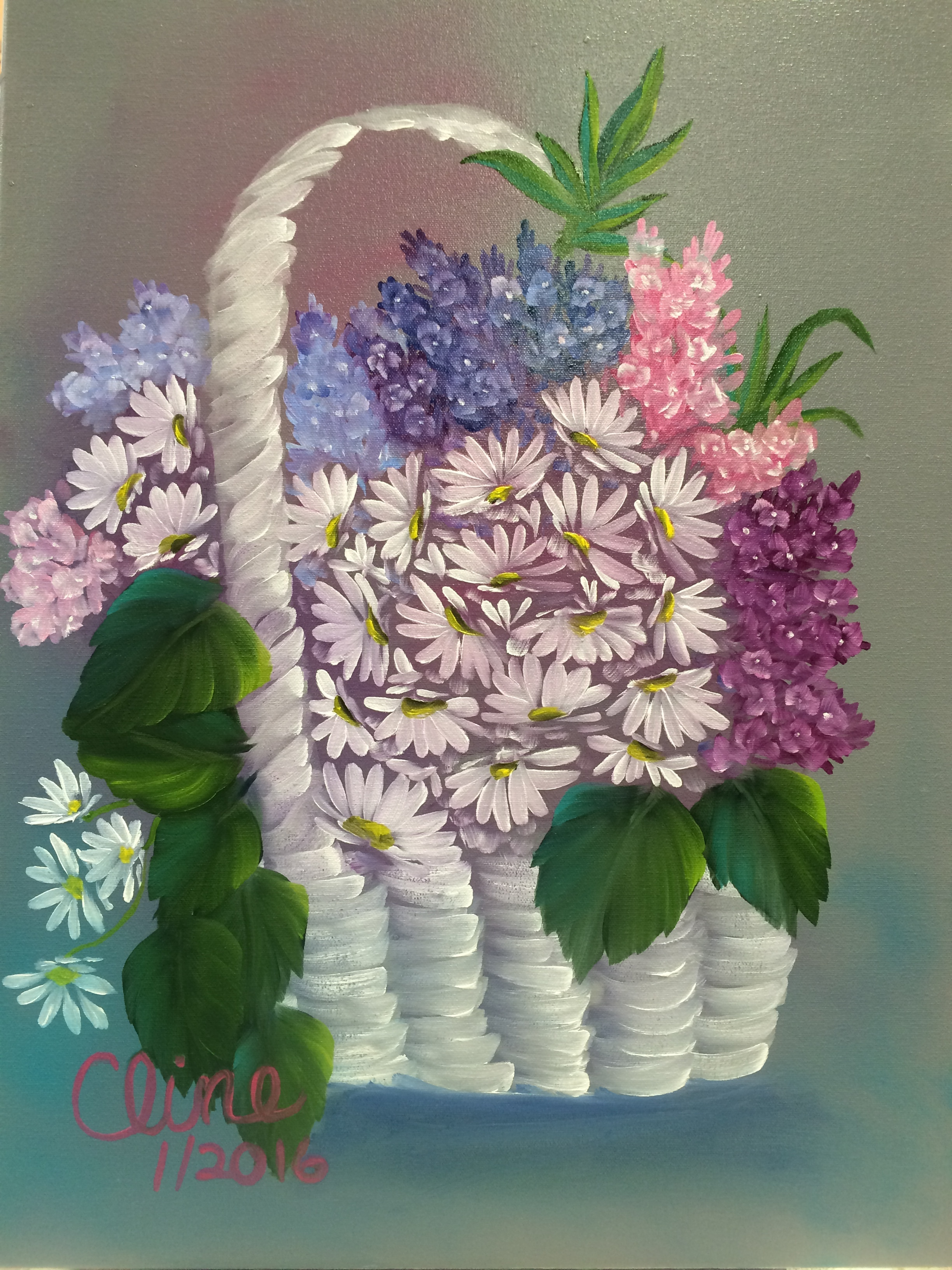 Flowers in a White Basket