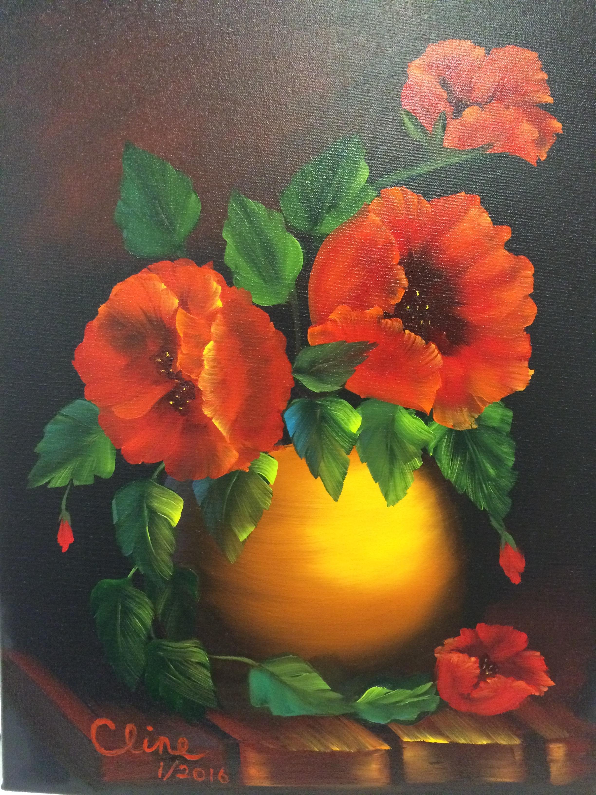 Red Poppies in a Clay Pot