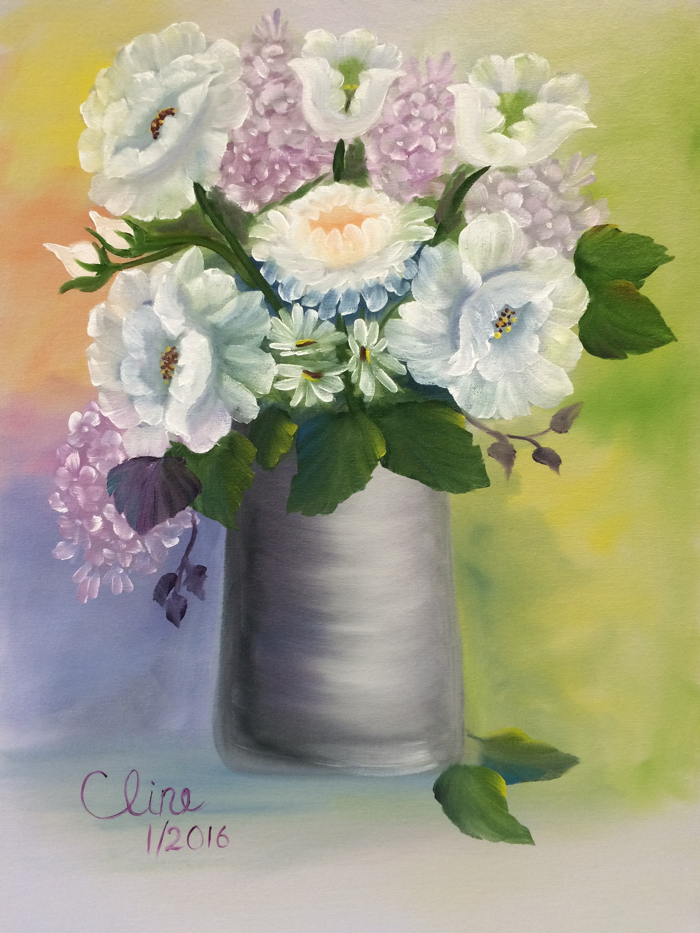 White Flowers in a Pewter Vase