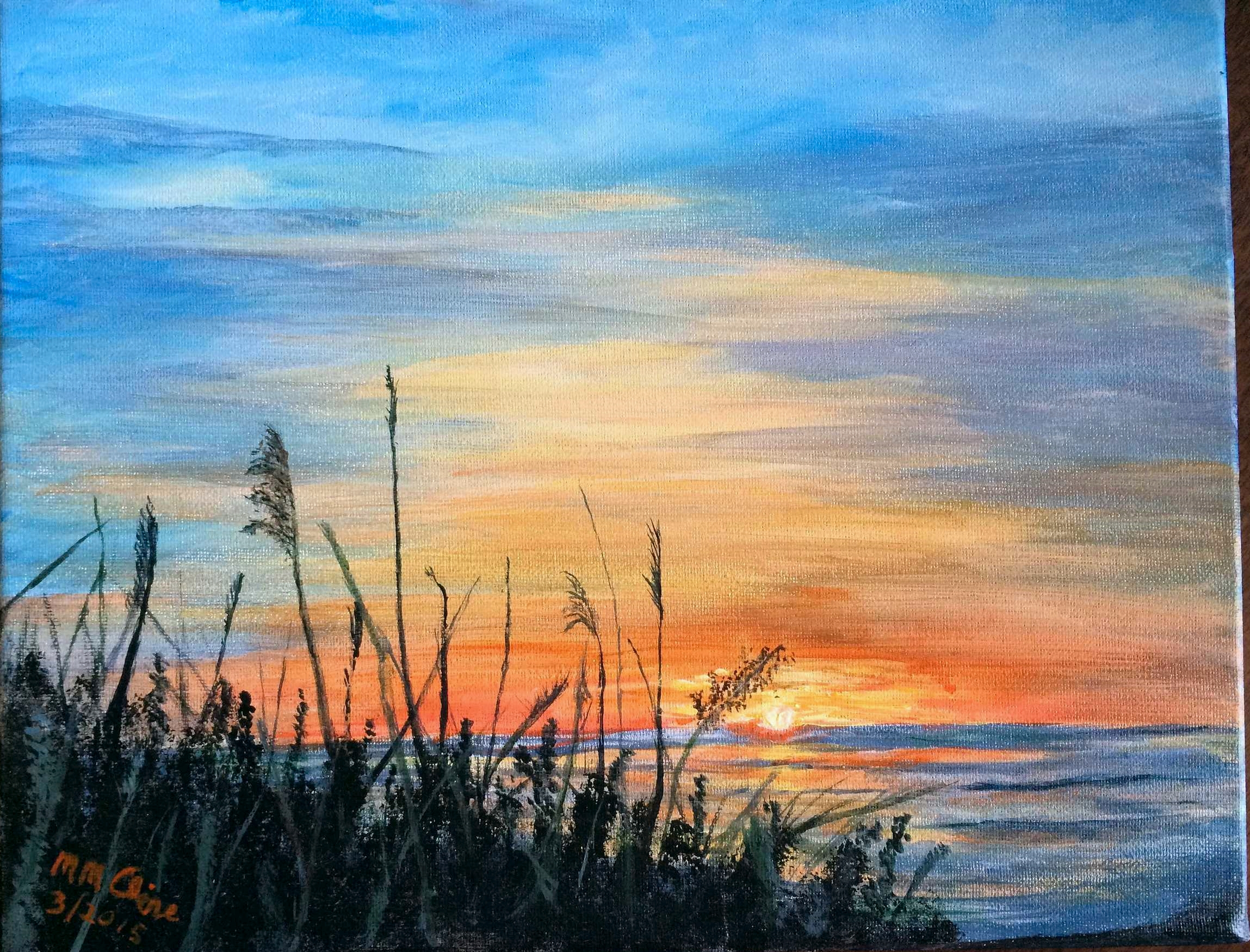 Tybee Sunset in acrylic