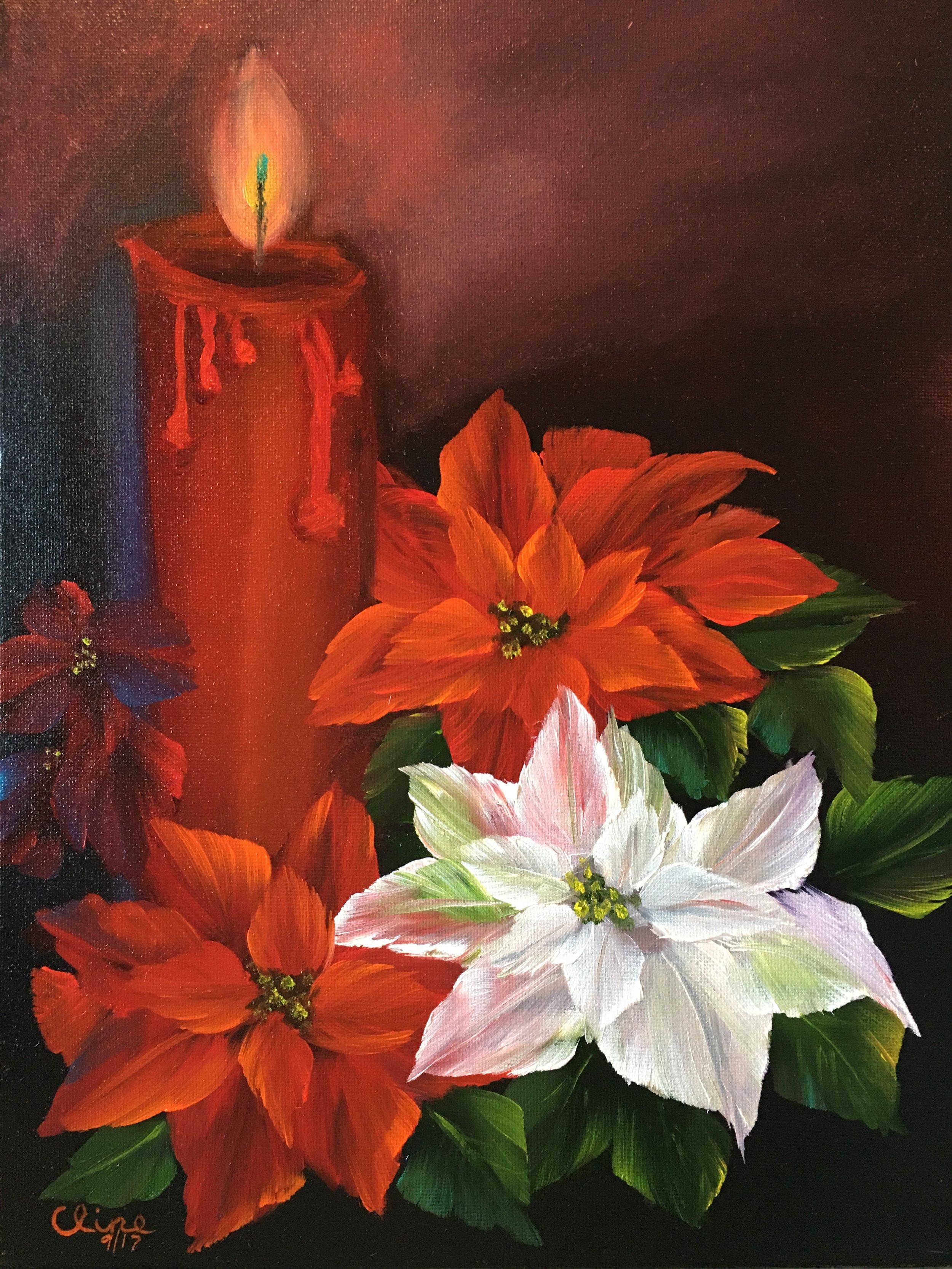 """""""Candle Glow Poinsettias"""""""