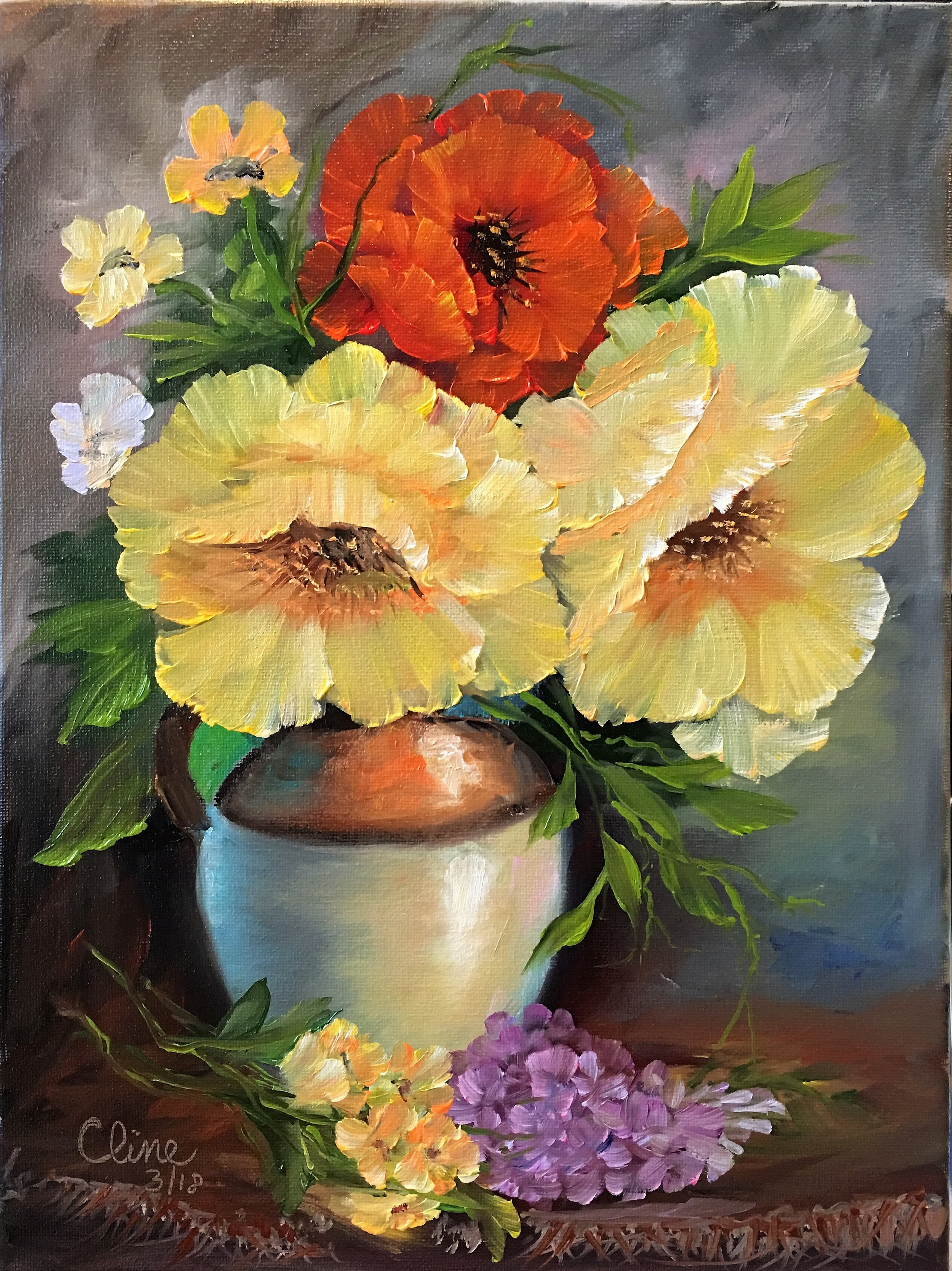 Poppies in an Old Ceramic Jug