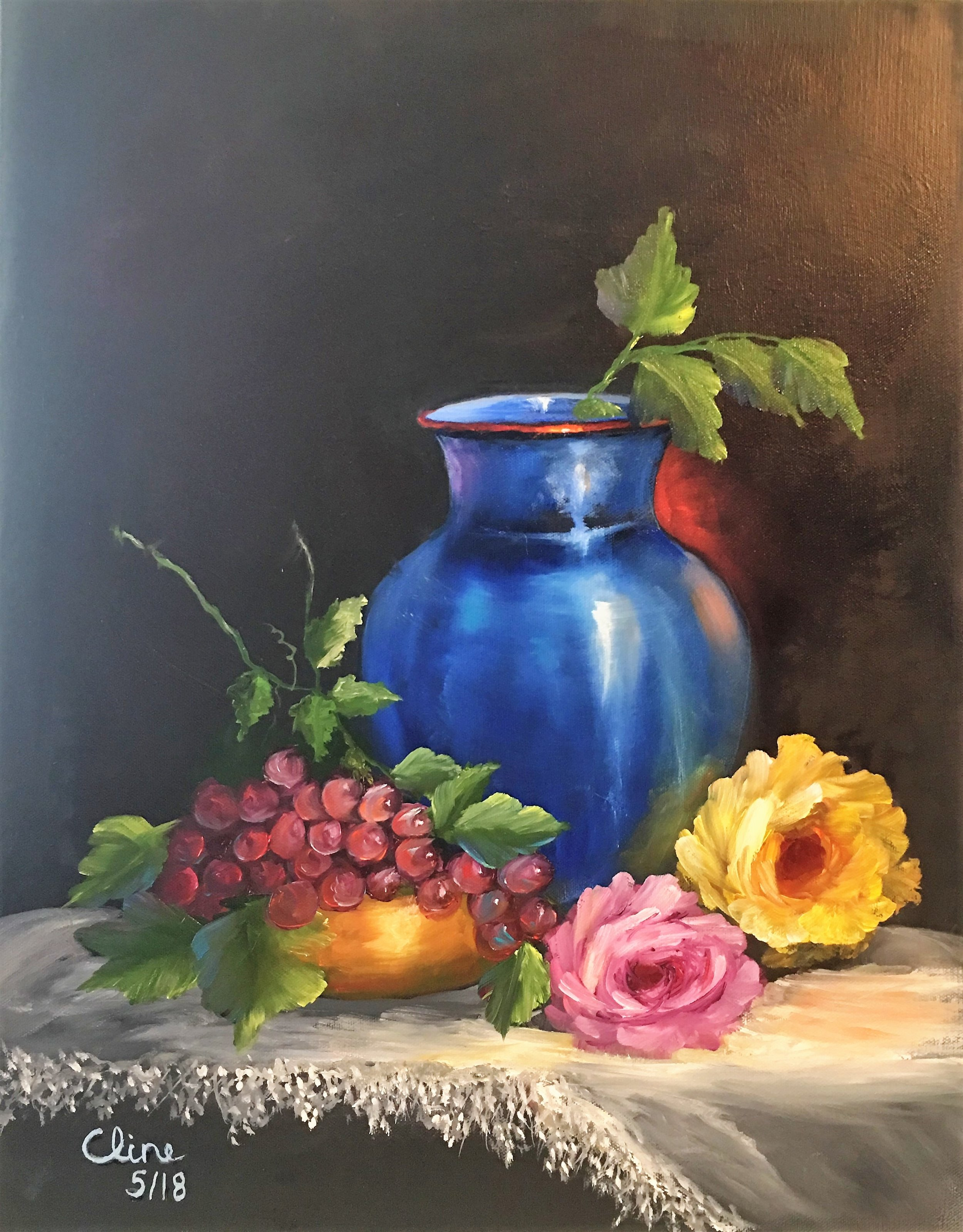 Grapes and Flowers in Blue Vase and Brass Bowl