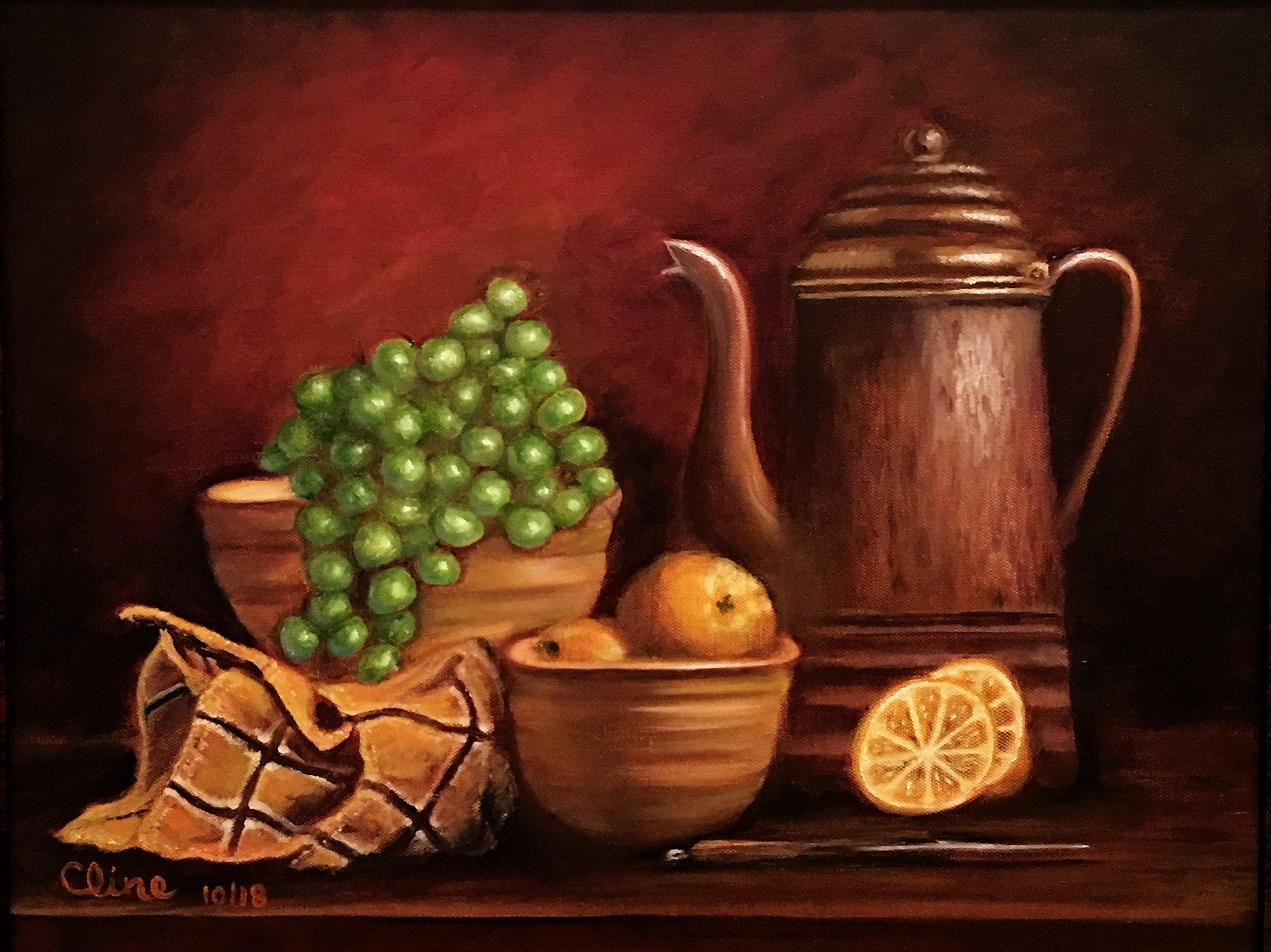 Coffee Pot with Lemons and Tea Towel