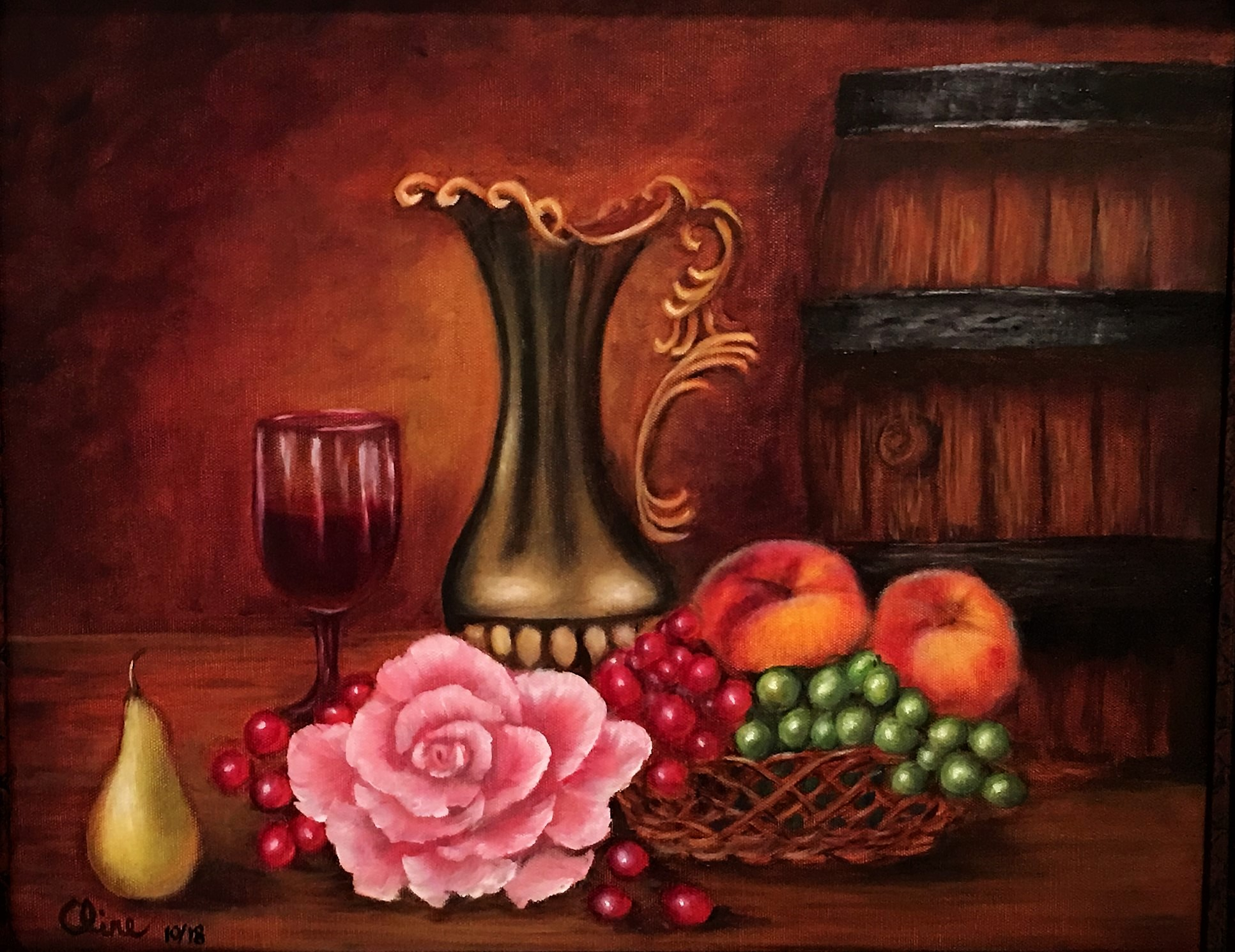 Wine Jug and Glass with Fruit and Rose -- mine 16x20.JPG