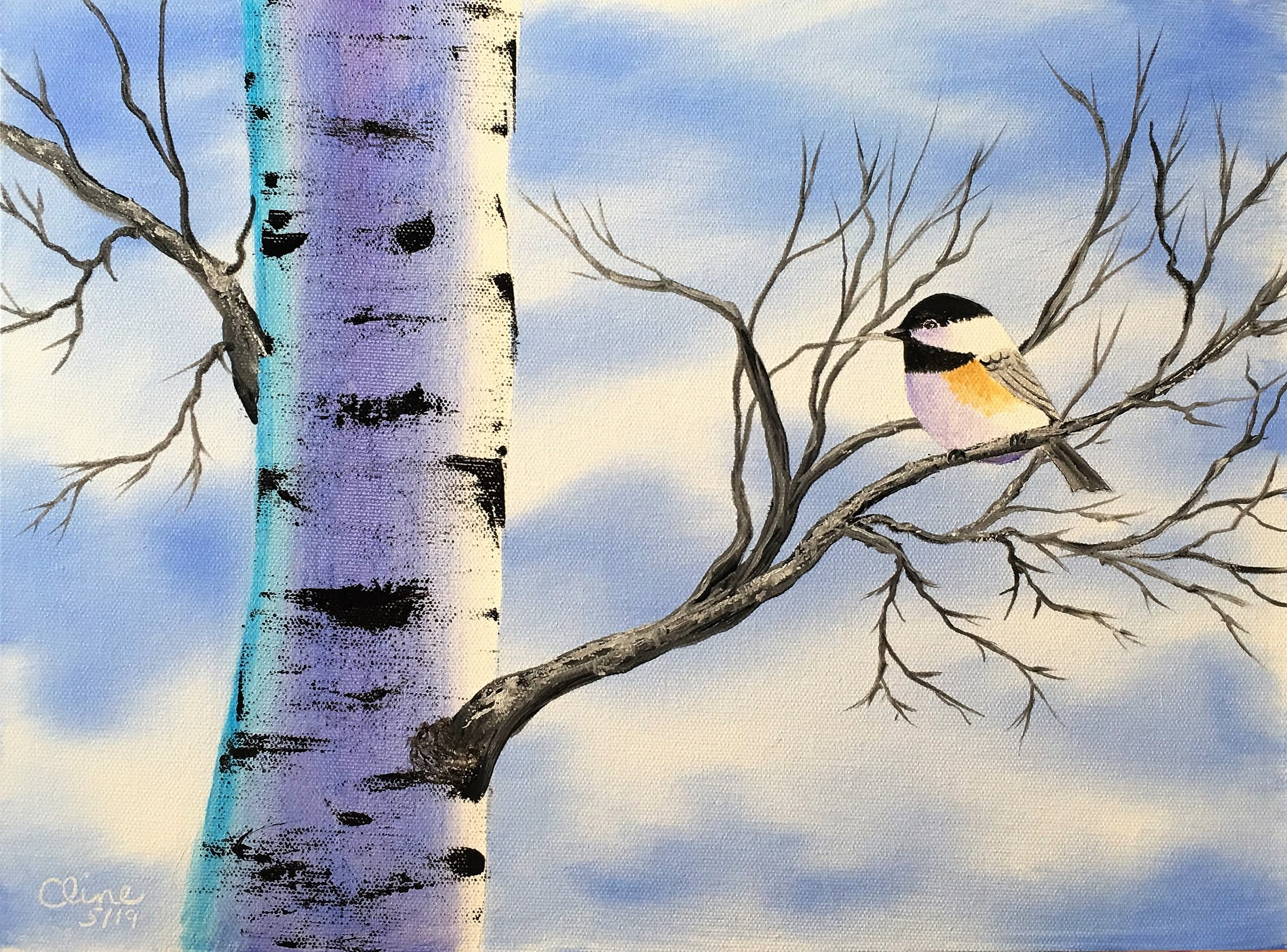 Chickadee in a Birch