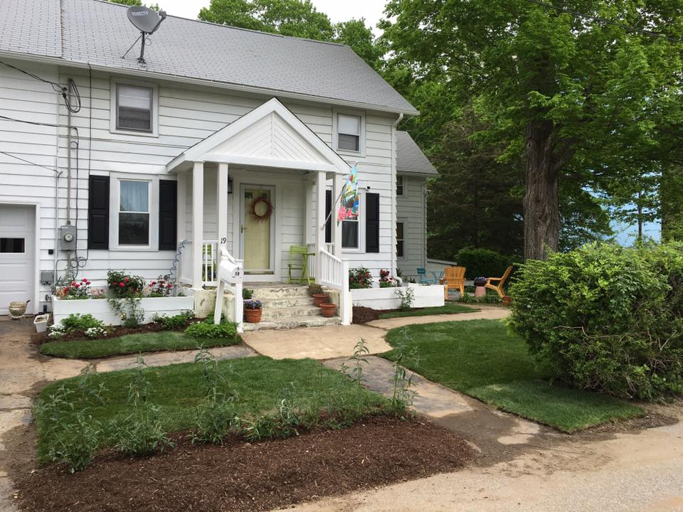 """Curb Appeal in Colchester""   New Sod installation, Raised Bed Plantings, and Fresh Mulch."