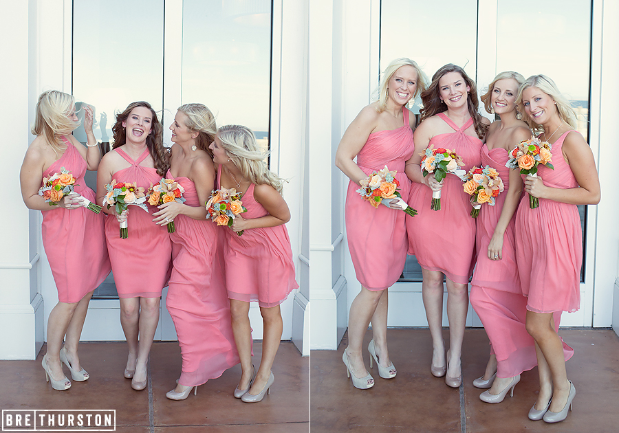 Here is another example of bold color, but this time the styles of the dresses are different. The maid of honor wore a long dress while the rest of the girls wore short.