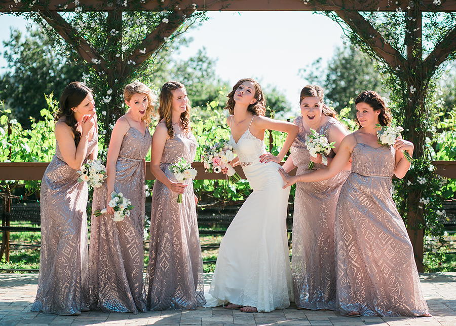 Muted metallic plus sequins? LOVE. These long, flowing dresses were beautiful to photograph at Stacy and Brian's winery wedding.