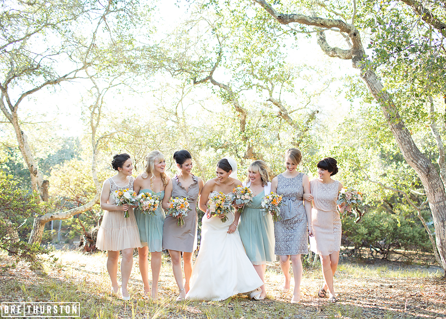 Kristine gave her bridesmaids a color palette and allowed them to buy their own dresses. Each dress reflected a unique style, color, and even fabric which all came together to form a beautiful, eye pleasing combination.