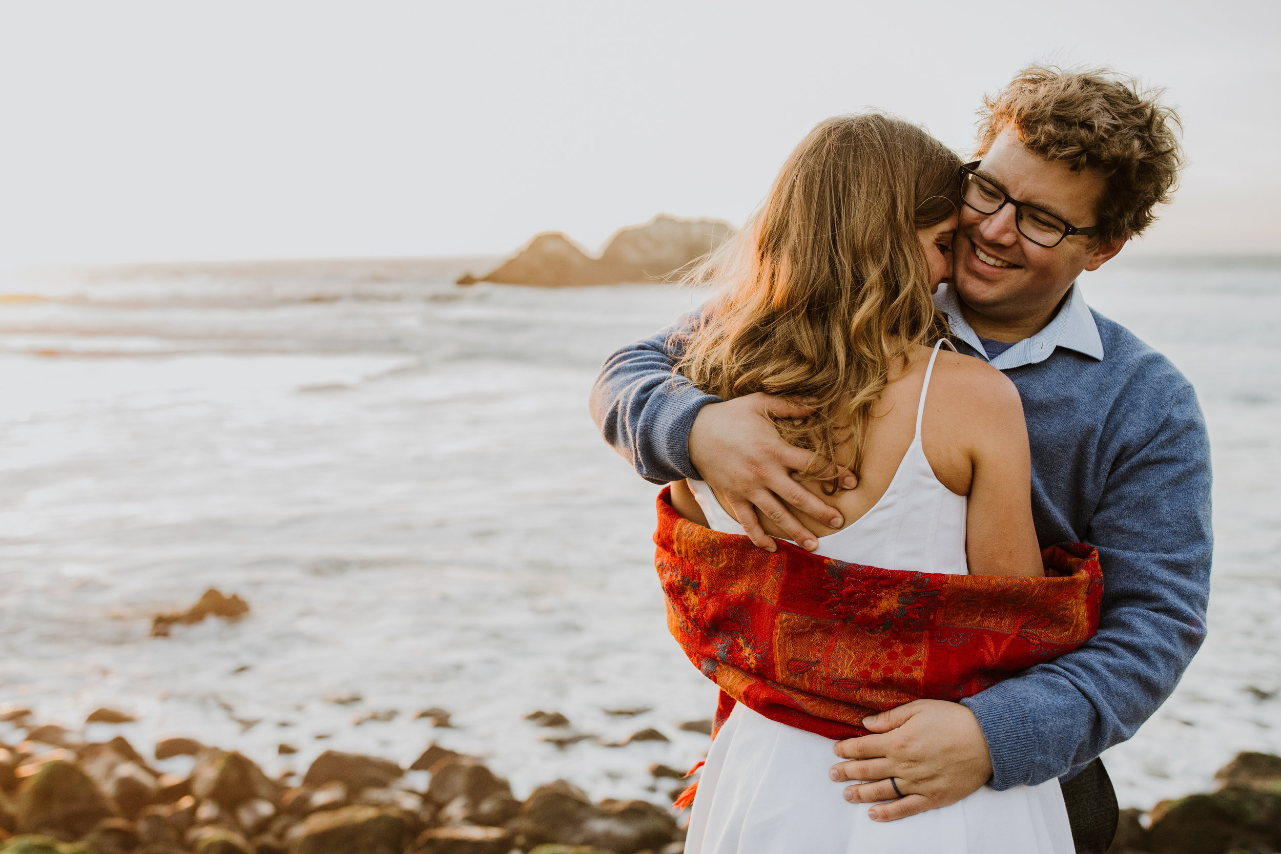 san francisco bay area photographer bre thurston | pacific coast outdoor engagement shoot | happy couple at sunset