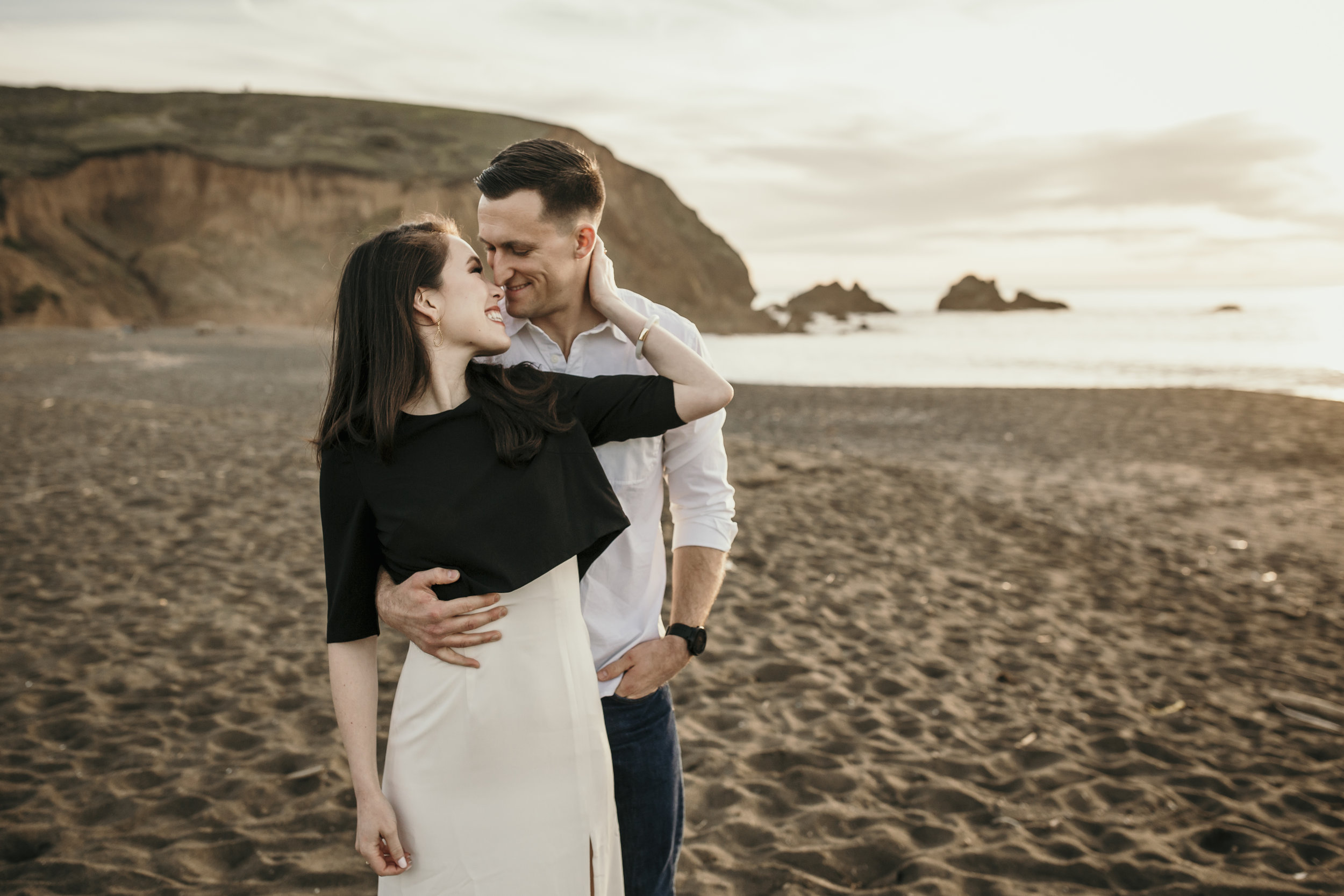 san francisco engagement + wedding photography by bre thurston | outside lifestyle photographer in the bay area | engaged couple on the beach at sunset