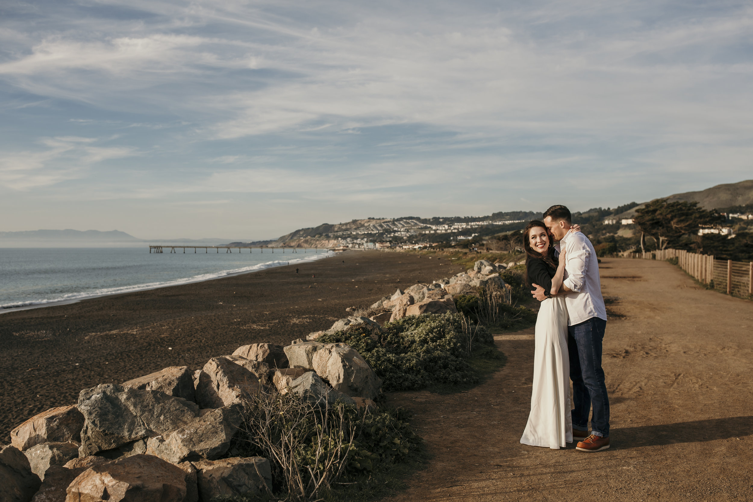 san francisco engagement + wedding photography by bre thurston | outside lifestyle photographer in the bay area | romantic engaged couple on the beach at sunset