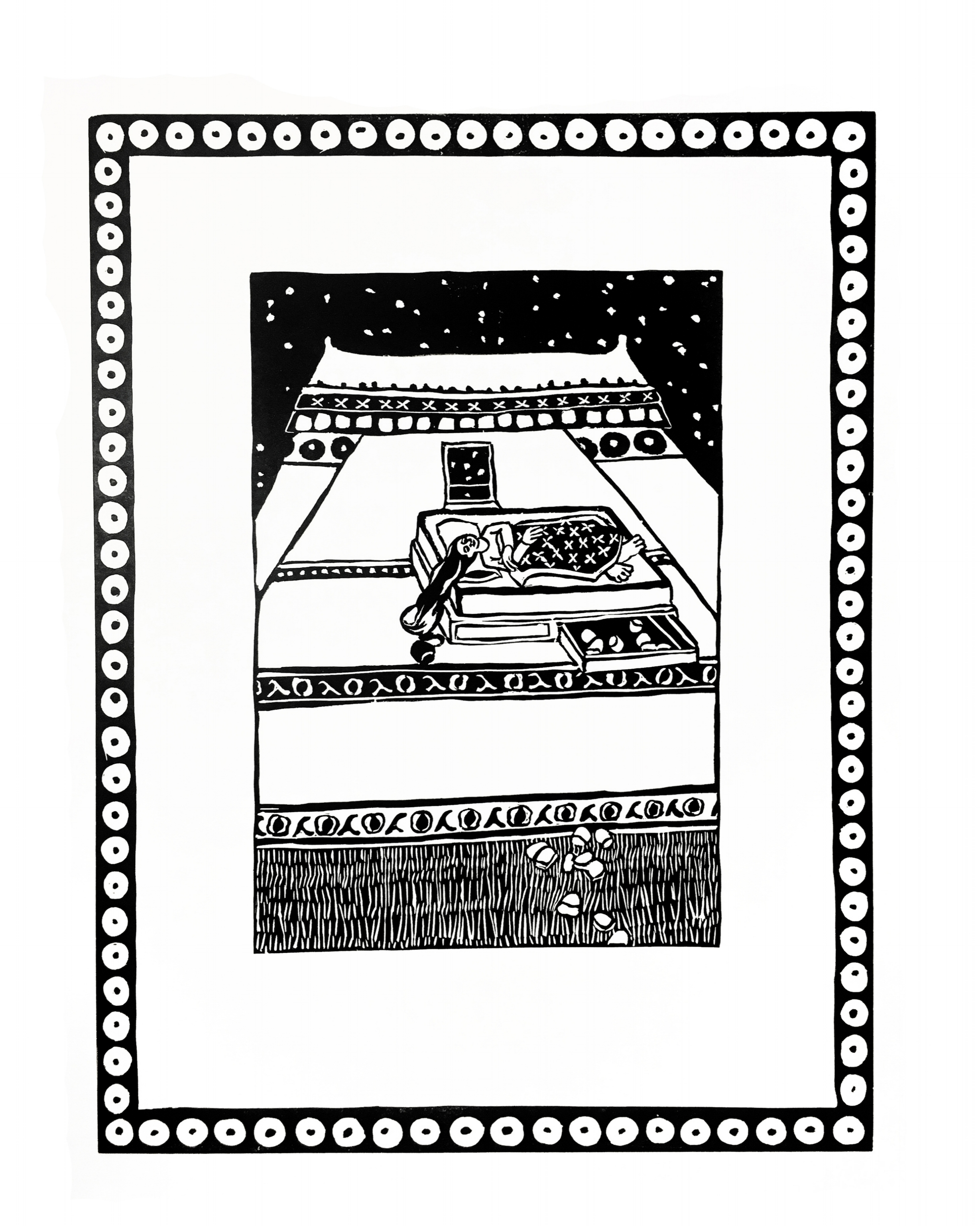 Falling teeth in a growing house  woodblock print  22 x 15 inches