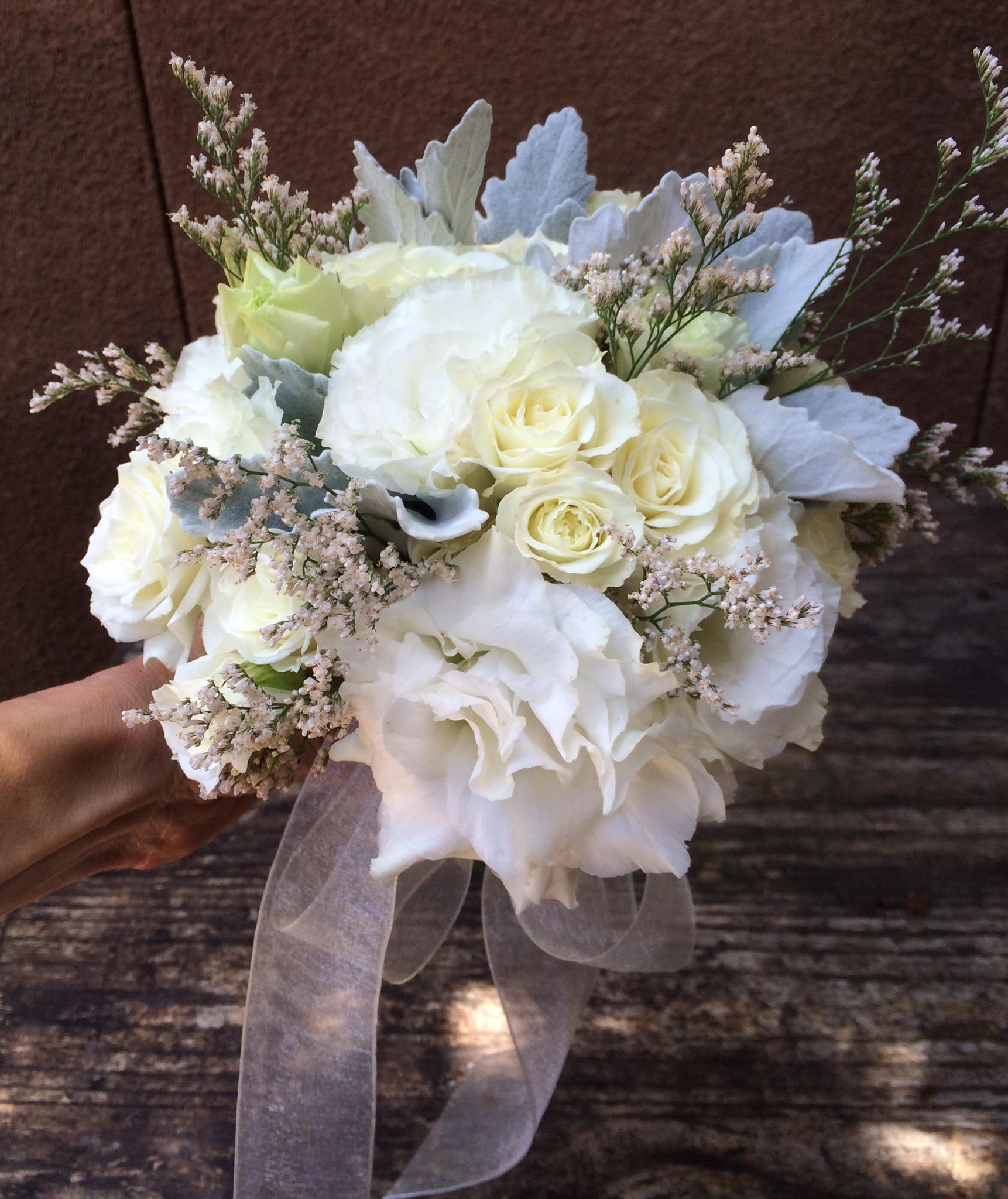 Bridal Bouquet, White Lisi:White Sprays:Dusty Miller.jpg